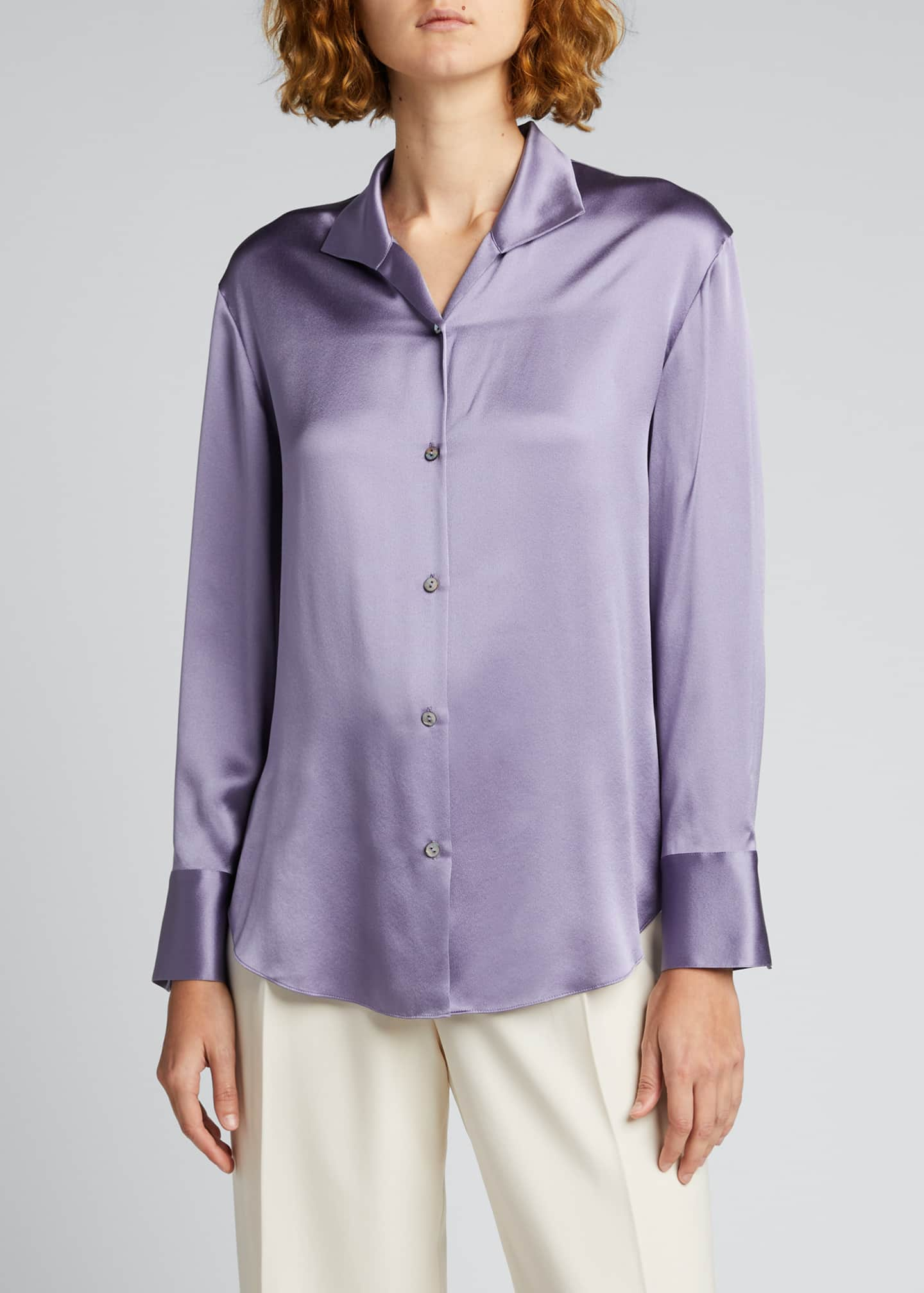 Image 3 of 5: Collared Silk Button-Down Blouse