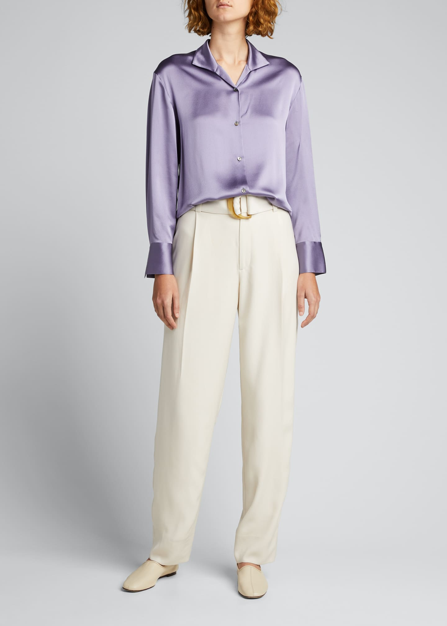 Image 1 of 5: Collared Silk Button-Down Blouse