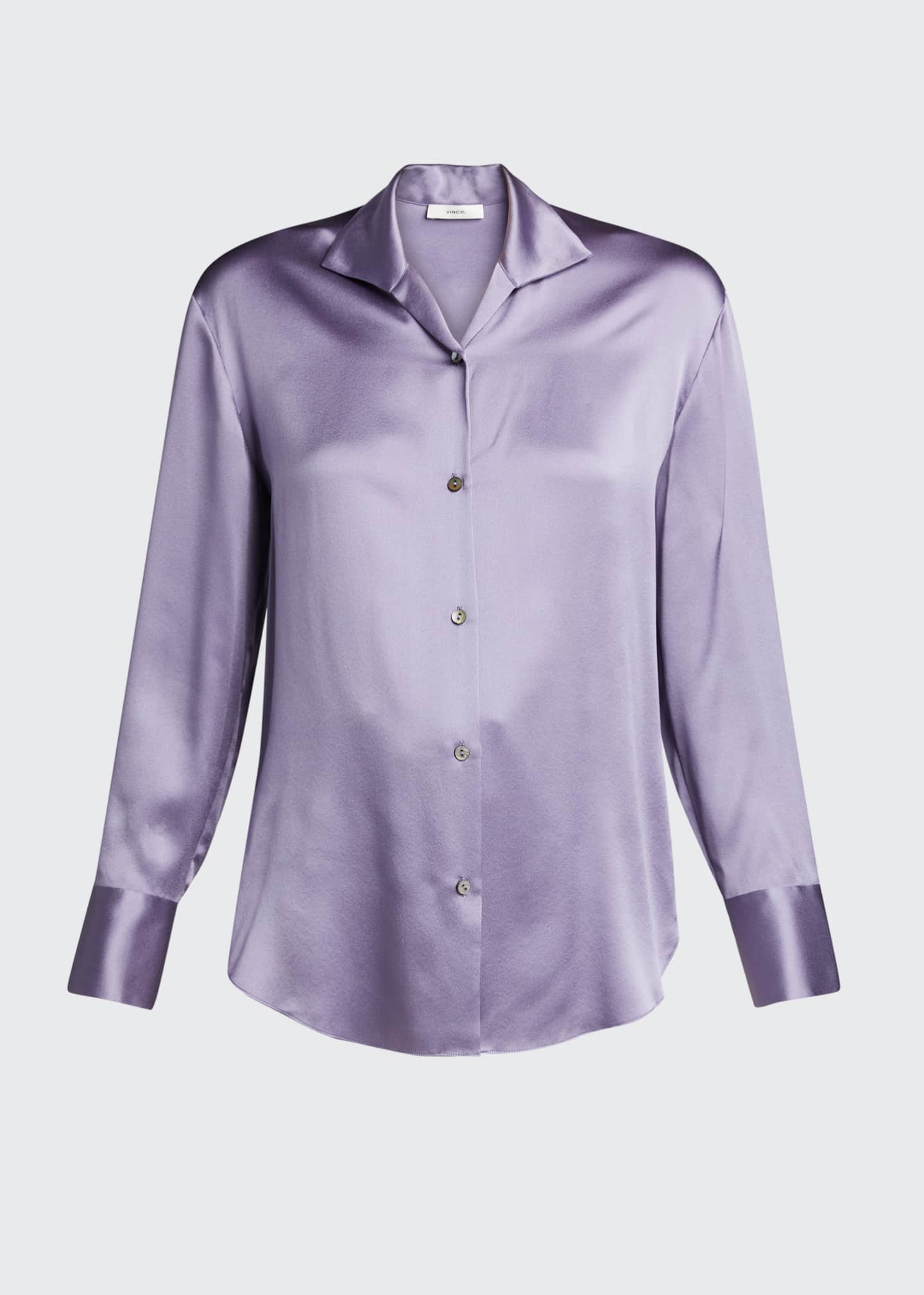 Image 5 of 5: Collared Silk Button-Down Blouse