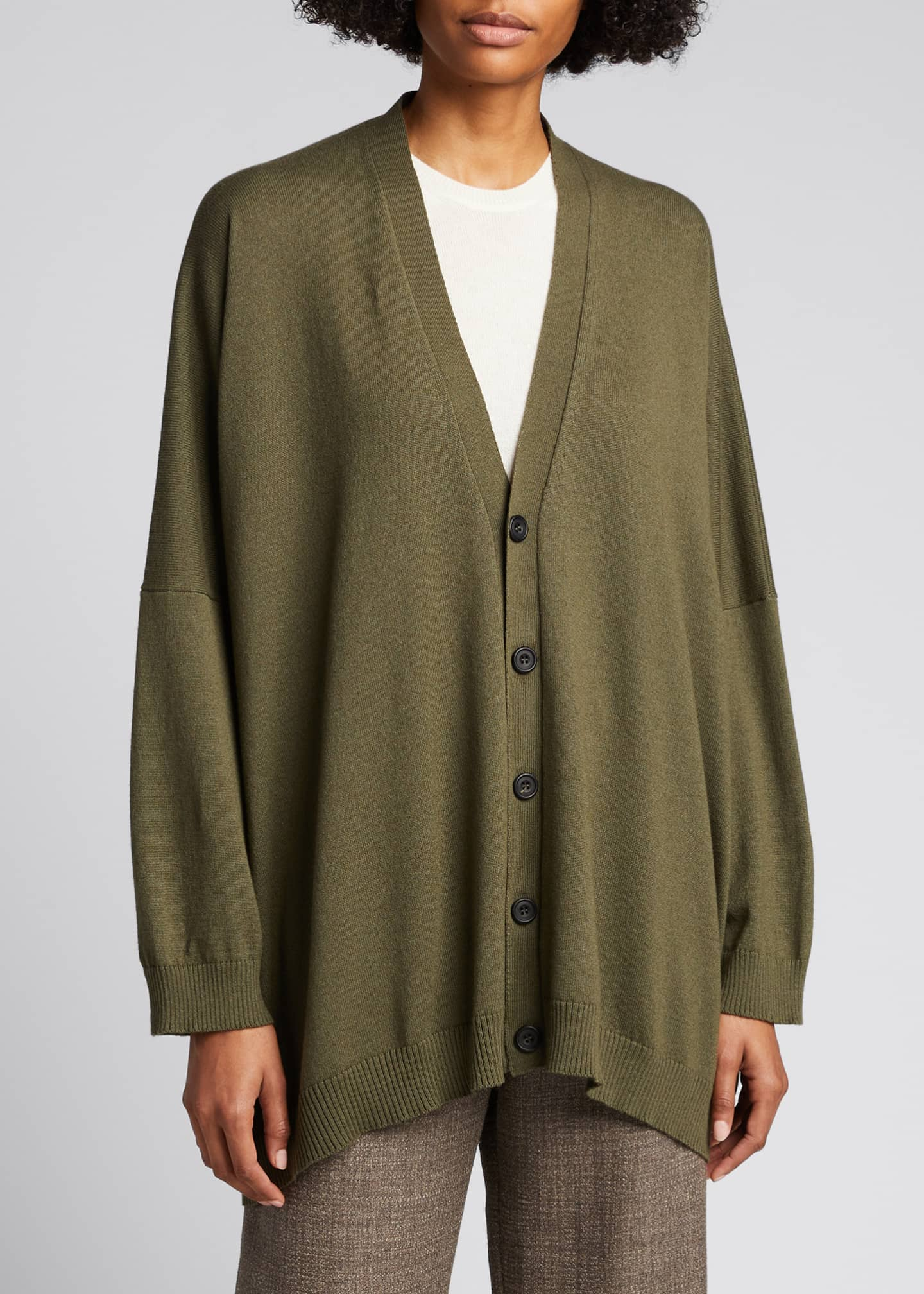 Image 3 of 5: Wide V-Neck Button-Front Cashmere Cardigan