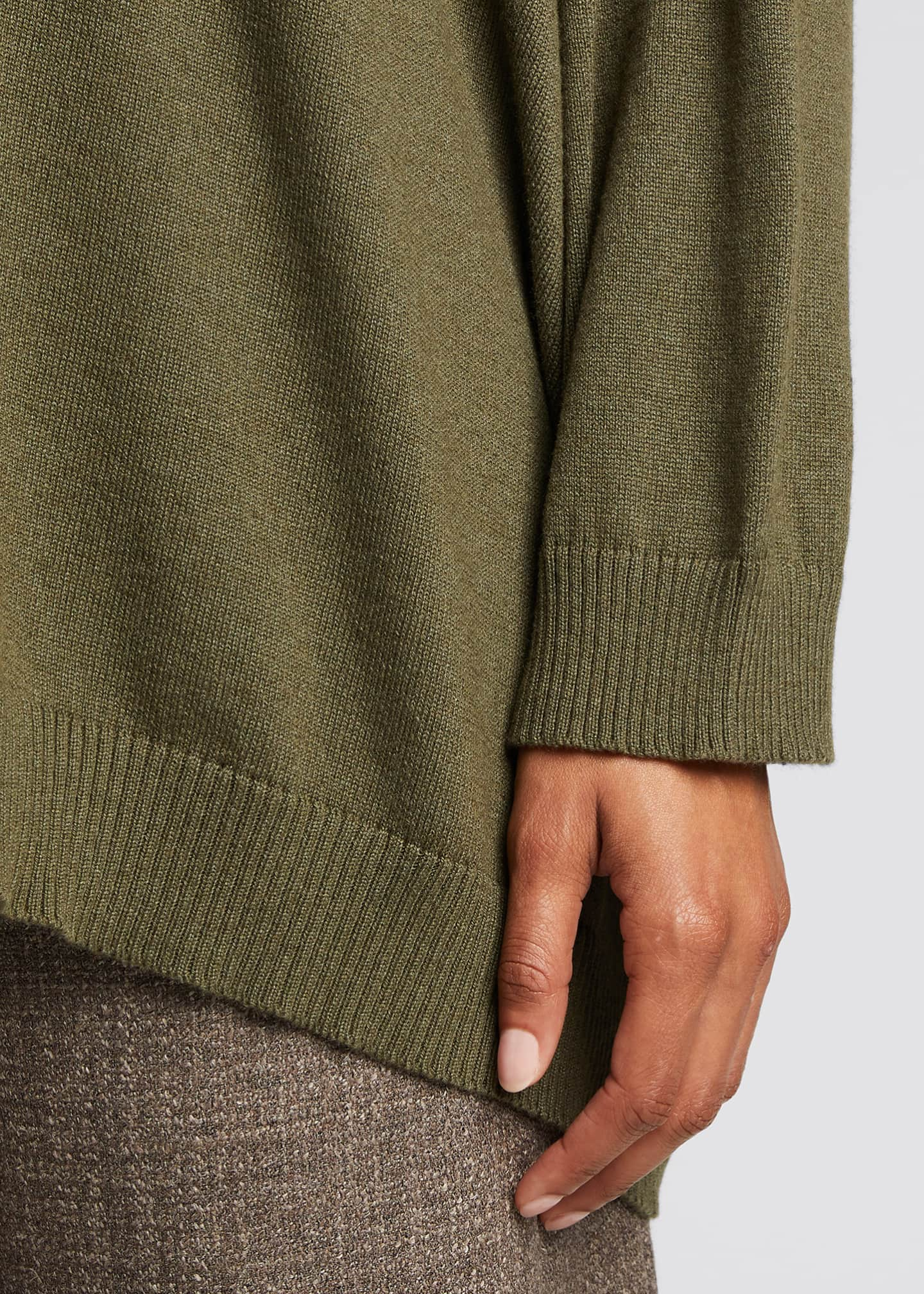 Image 4 of 5: Wide V-Neck Button-Front Cashmere Cardigan