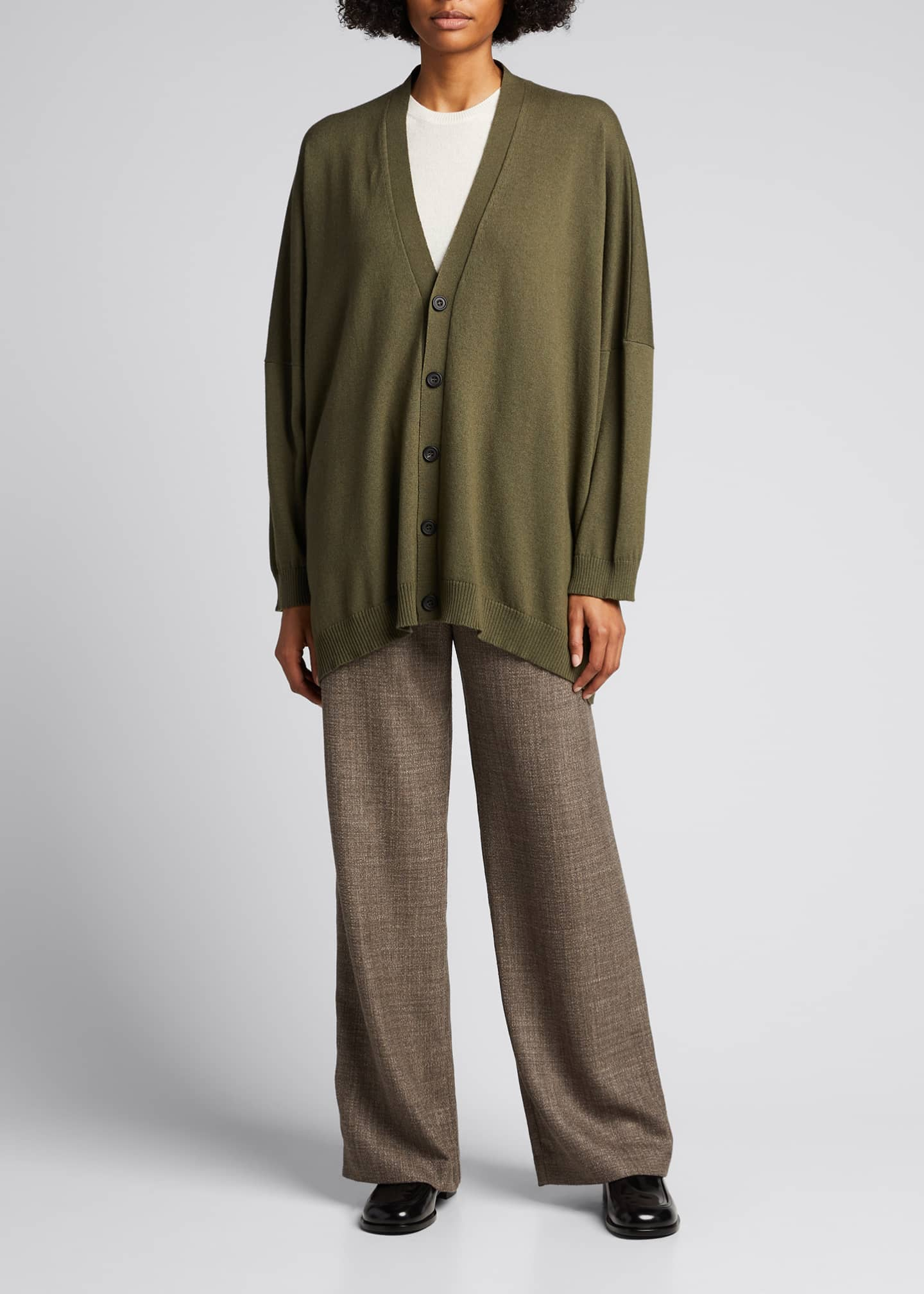 Image 1 of 5: Wide V-Neck Button-Front Cashmere Cardigan