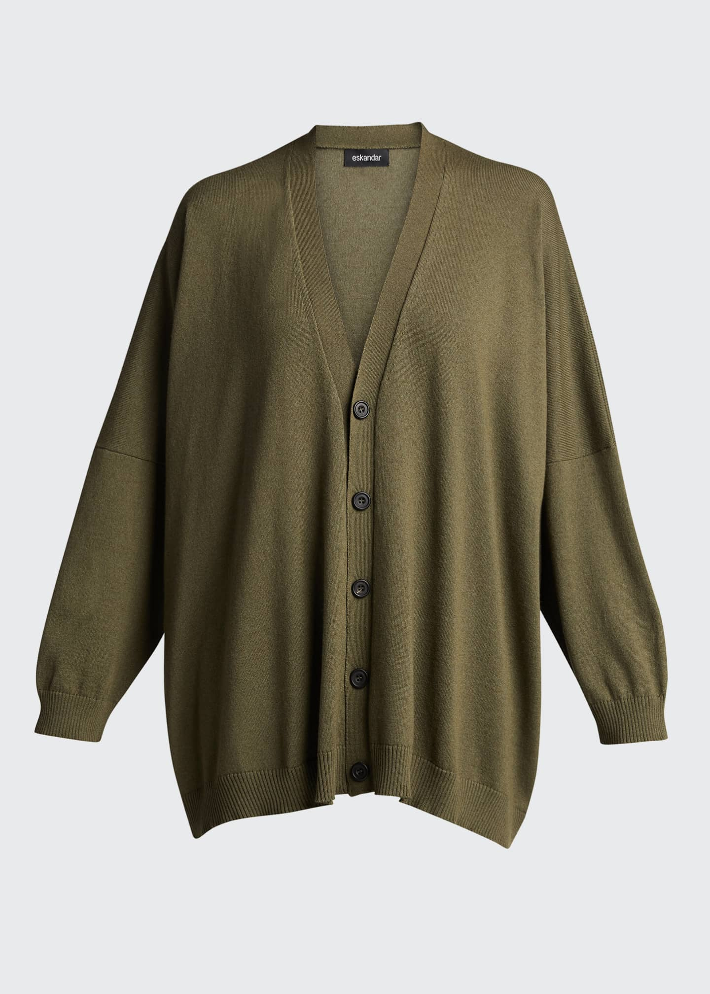 Image 5 of 5: Wide V-Neck Button-Front Cashmere Cardigan