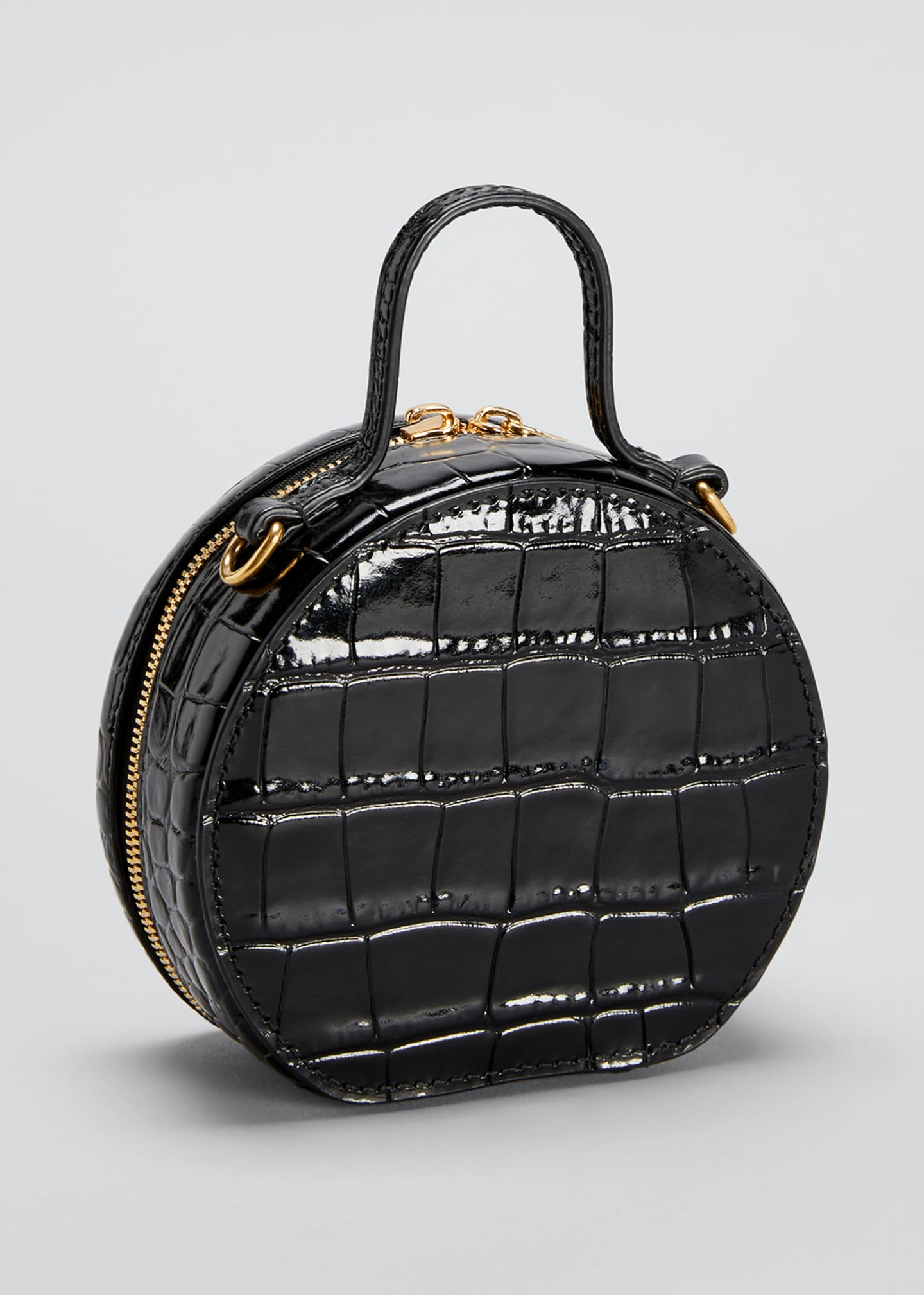 Image 2 of 3: Shiny Croc-Embossed Round Top-Handle Bag