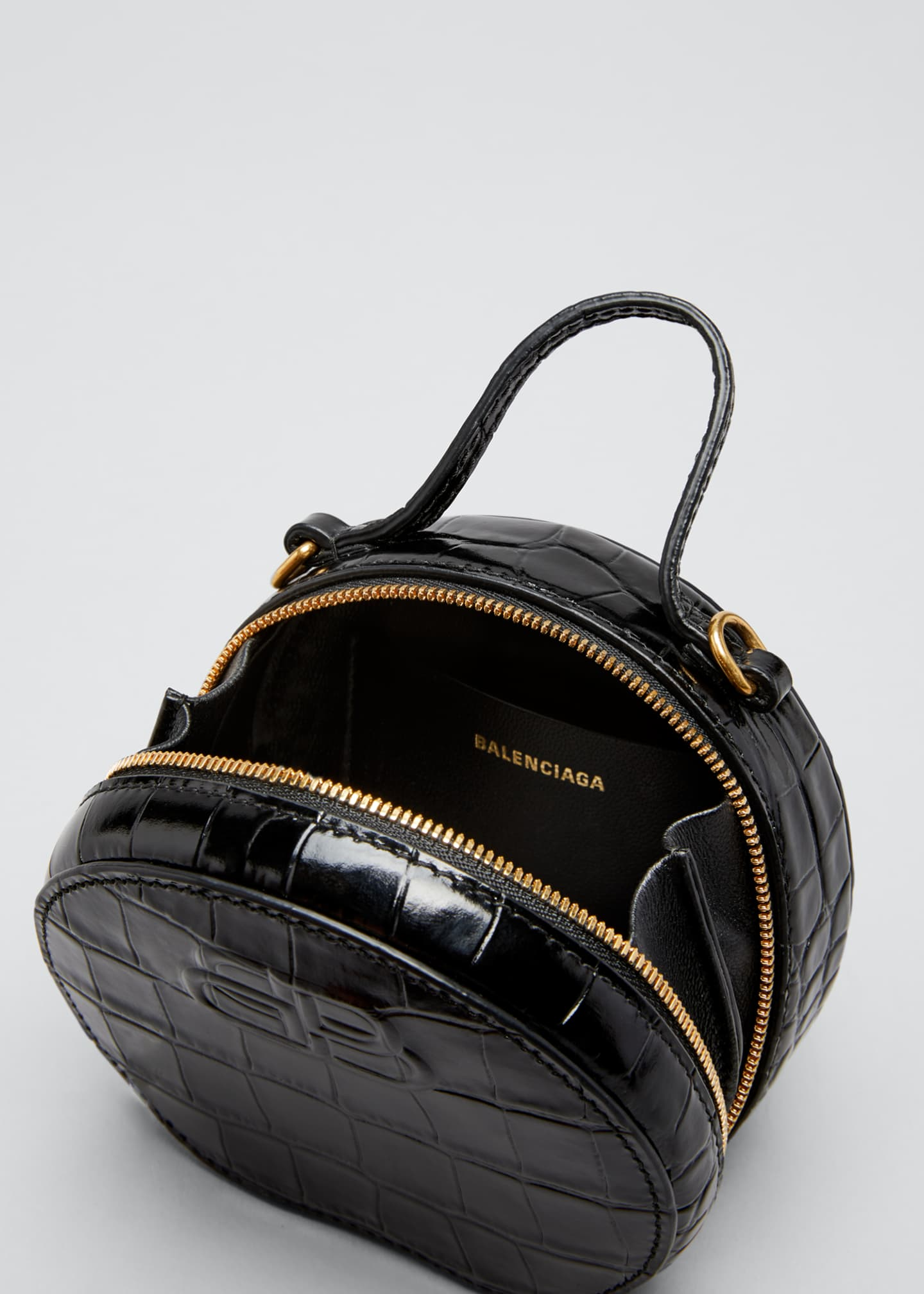 Image 3 of 3: Shiny Croc-Embossed Round Top-Handle Bag