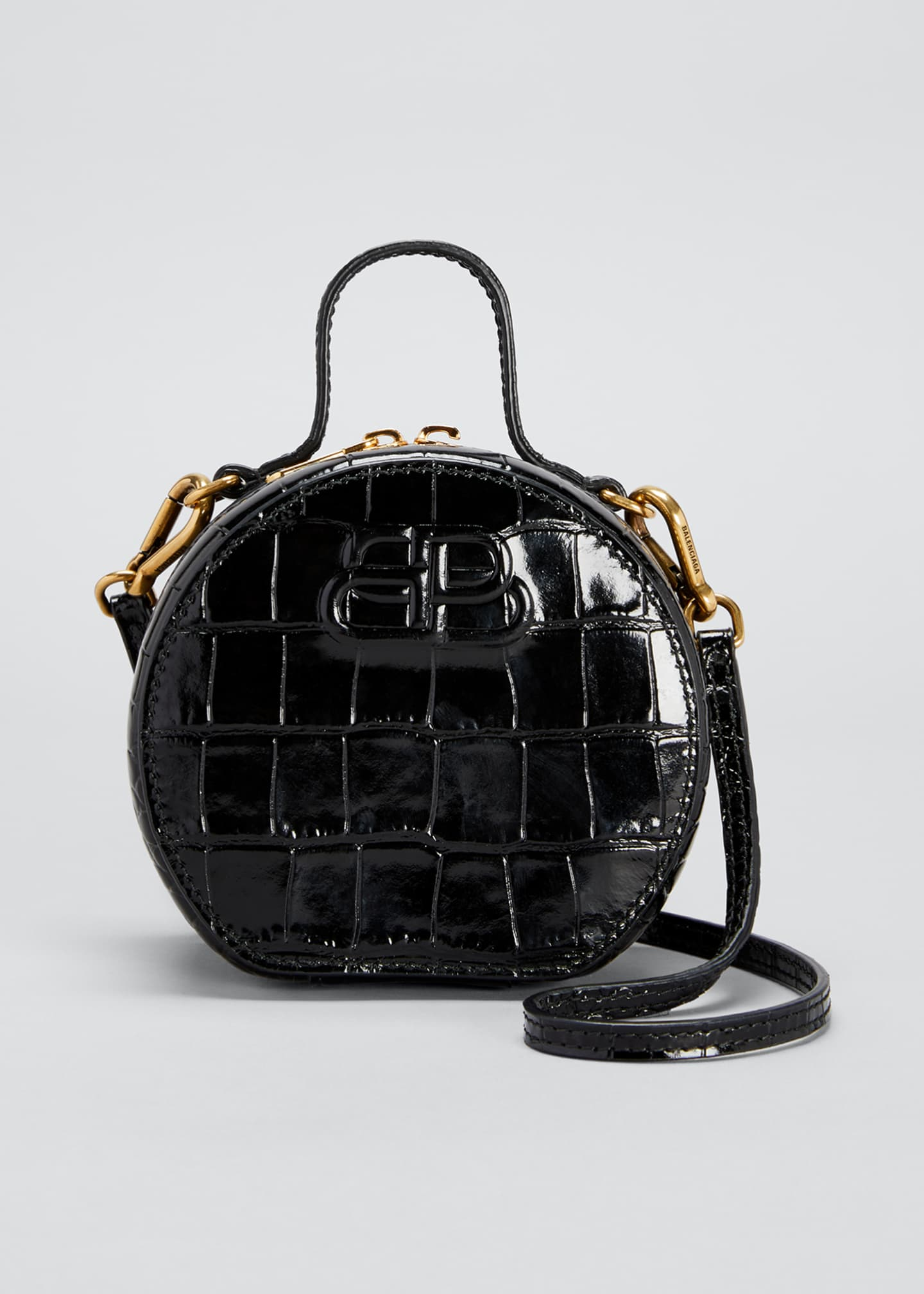 Image 1 of 3: Shiny Croc-Embossed Round Top-Handle Bag