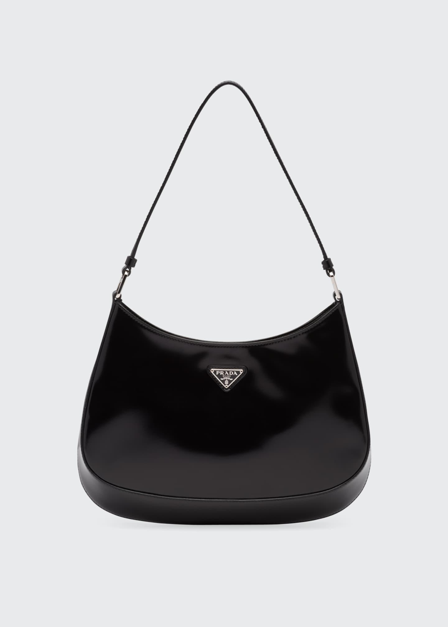 Prada Cleo Brushed Leather Hobo Bag   Bergdorf Goodman