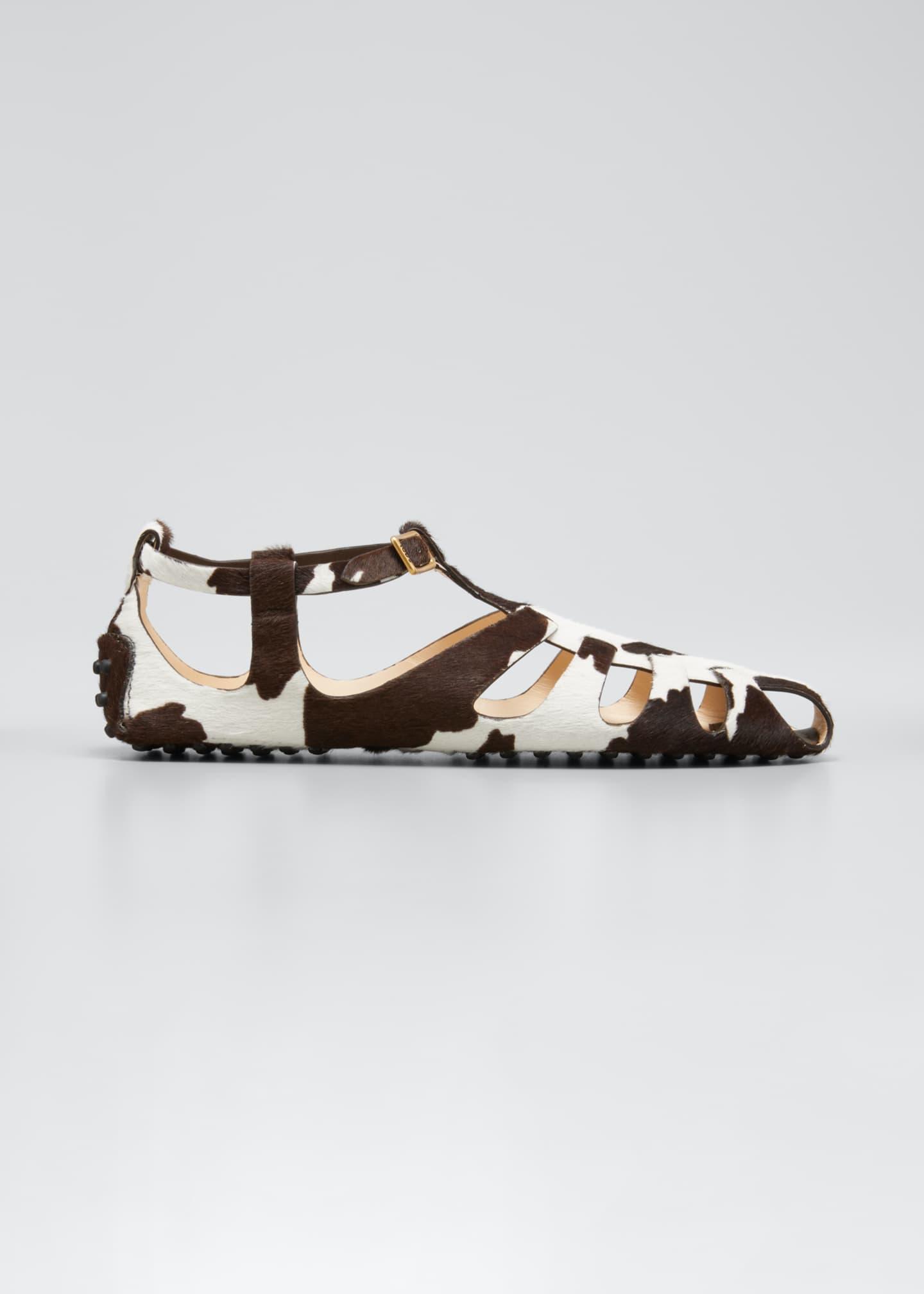 Image 1 of 5: Cow-Print Fur Fisherman Sandals