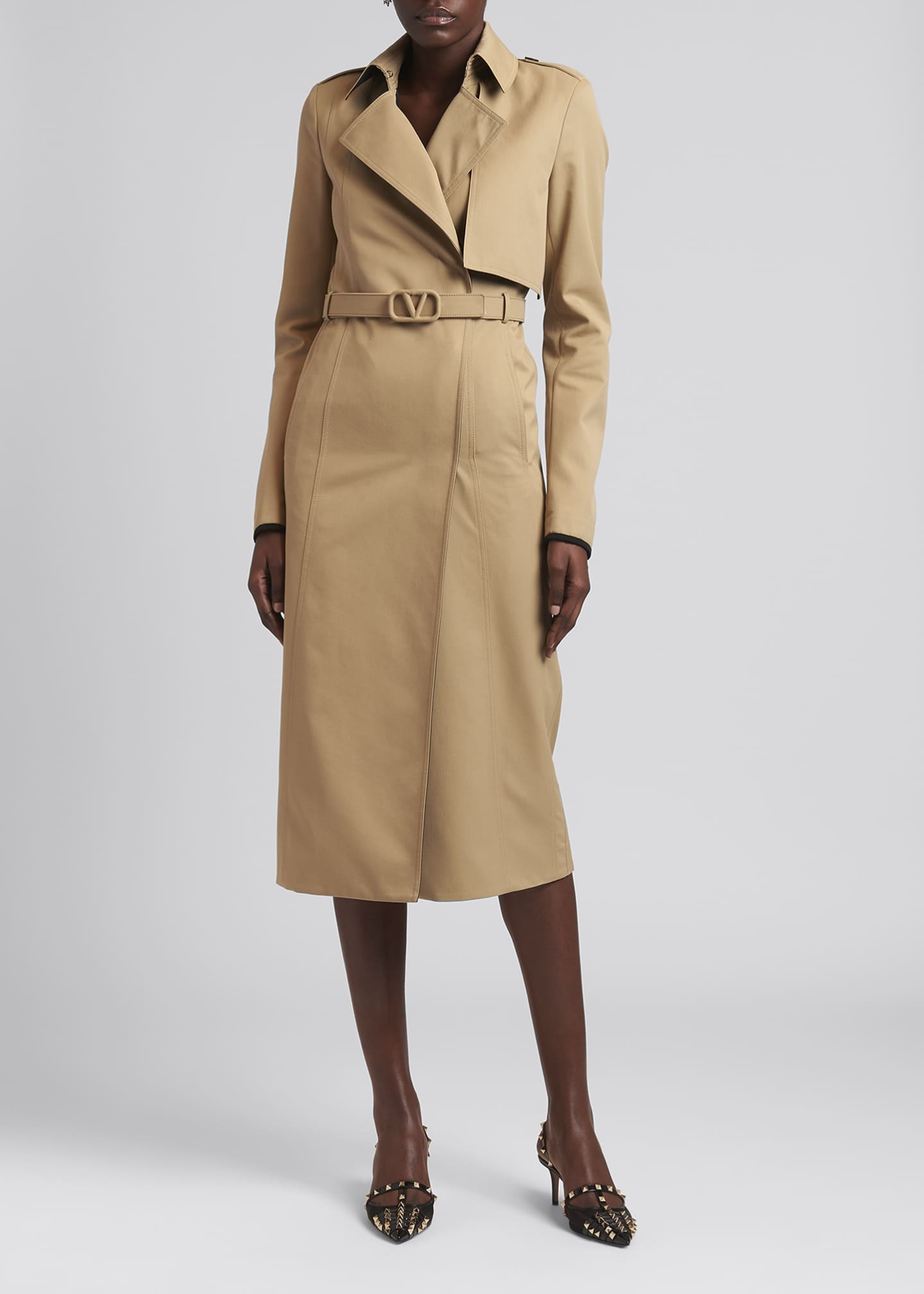 Image 1 of 4: Tonal Belted Cotton Trench Coat