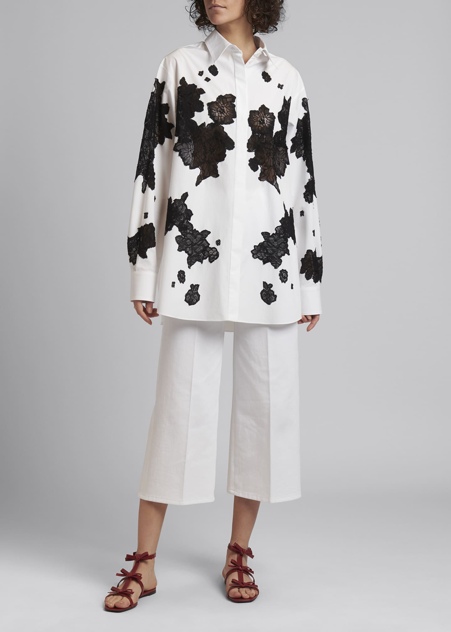 Image 1 of 5: Floral-Lace Insert Poplin Button-Down Blouse