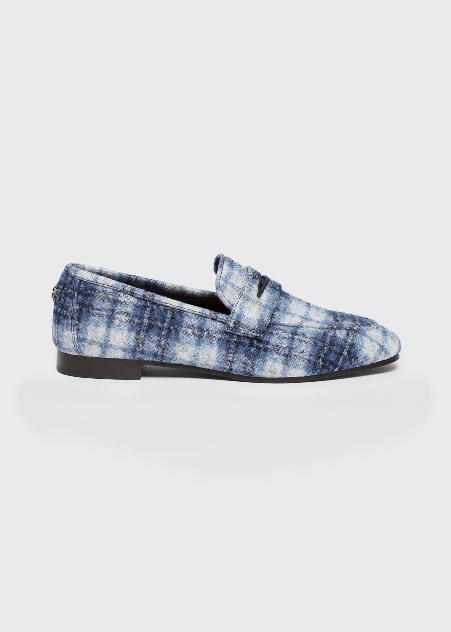Image 1 of 4: Tartan Plaid Slip-On Penny Loafers
