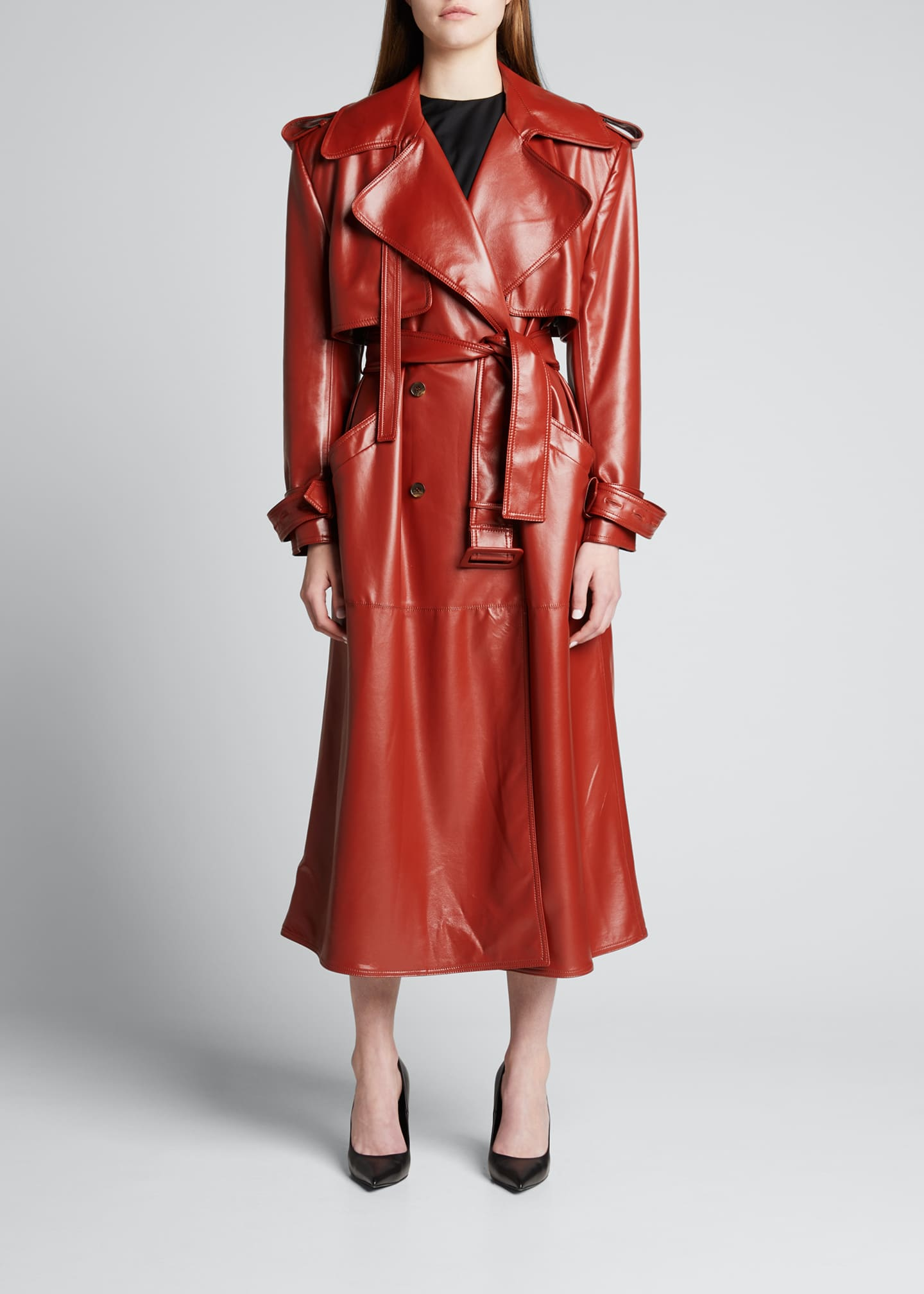Image 1 of 5: Eco-Leather Wide-Shoulder Trench Coat