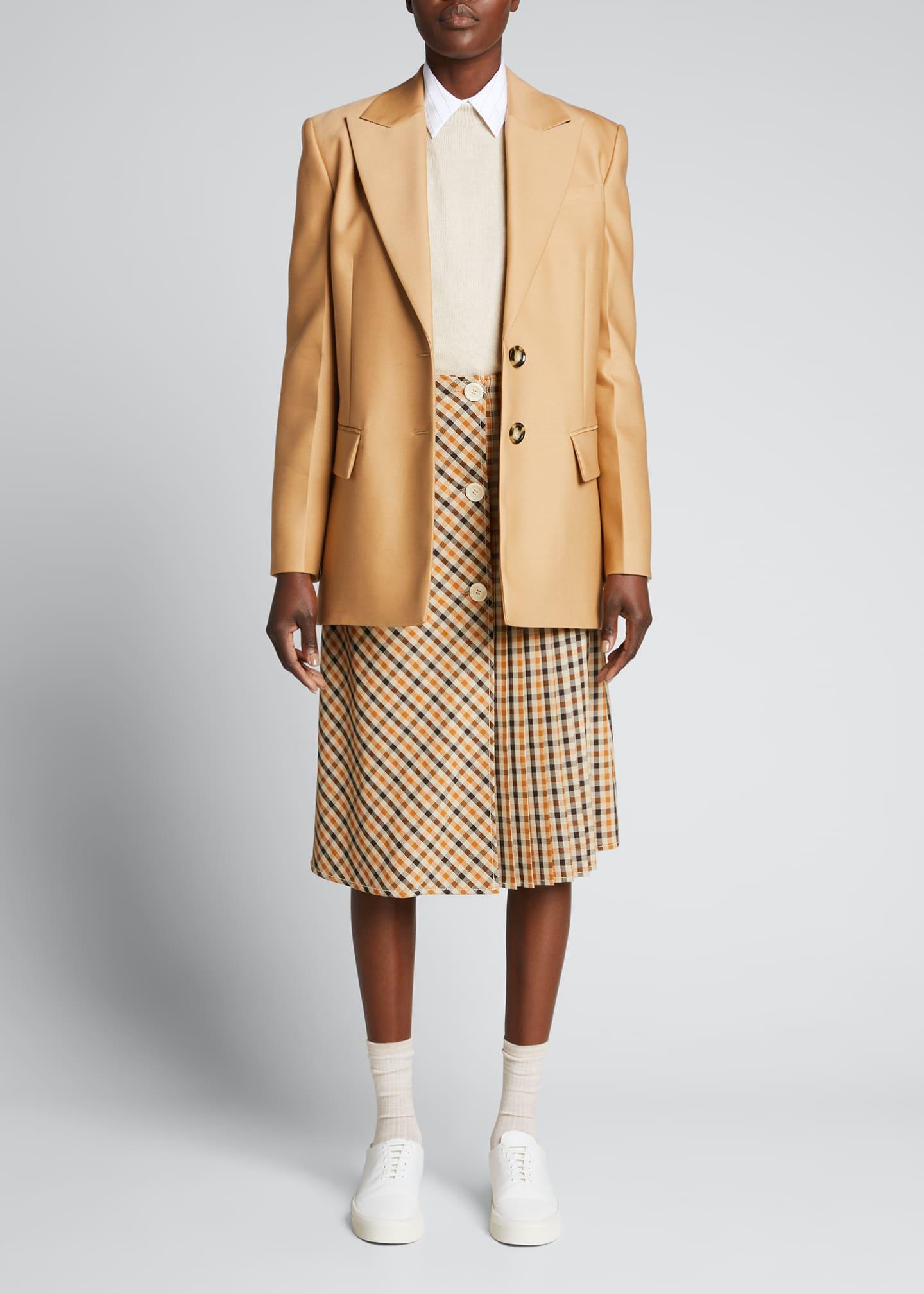 Image 1 of 5: Multi-Check Pleated Midi Skirt