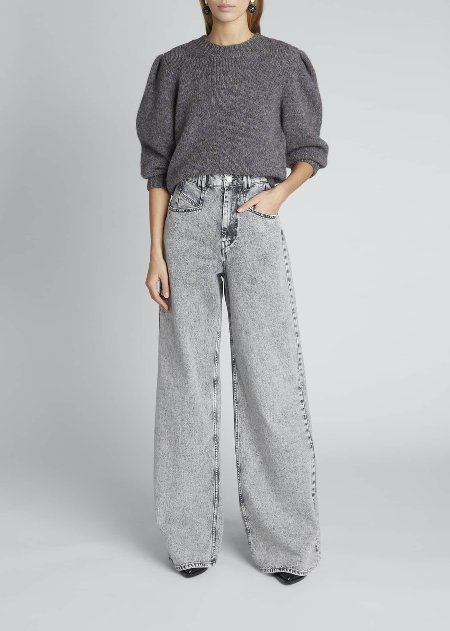 Image 1 of 5: Puff-Sleeve Alpaca-Wool Sweater