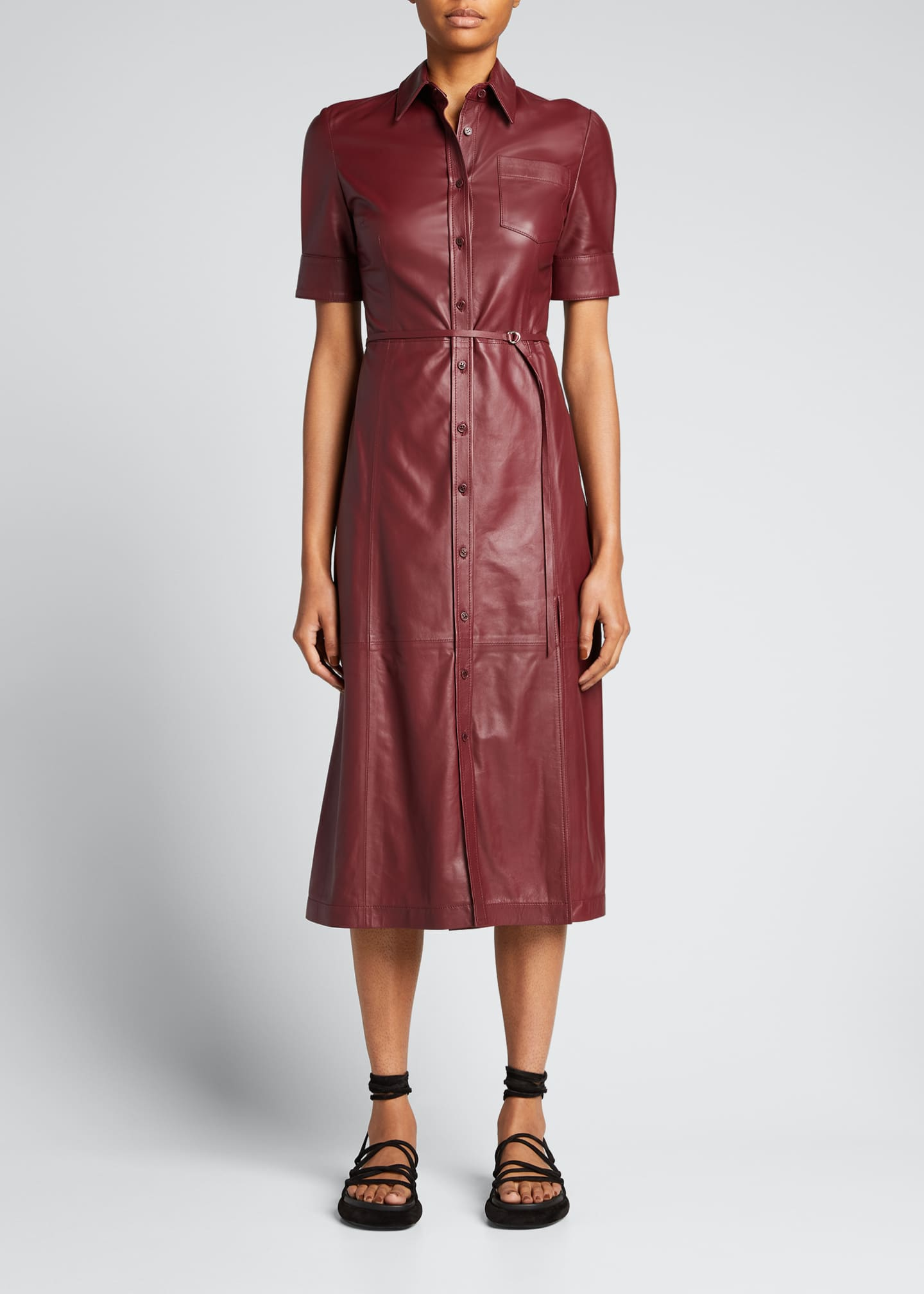 Image 1 of 5: Leather Belted Midi Dress