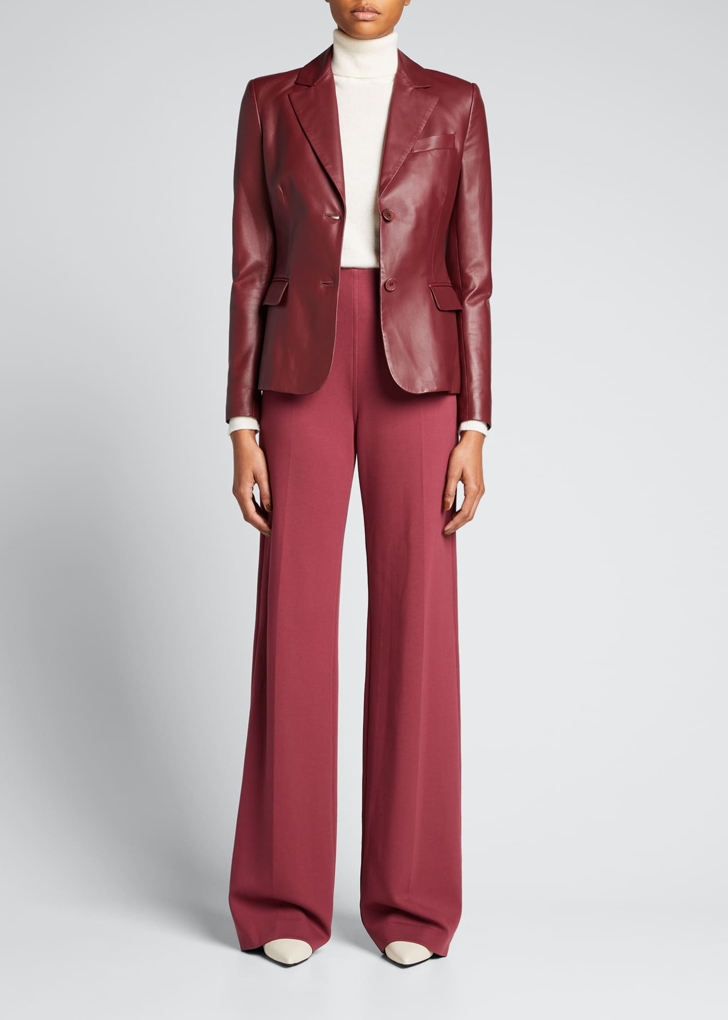 Image 1 of 5: Leather Two-Button Blazer Jacket
