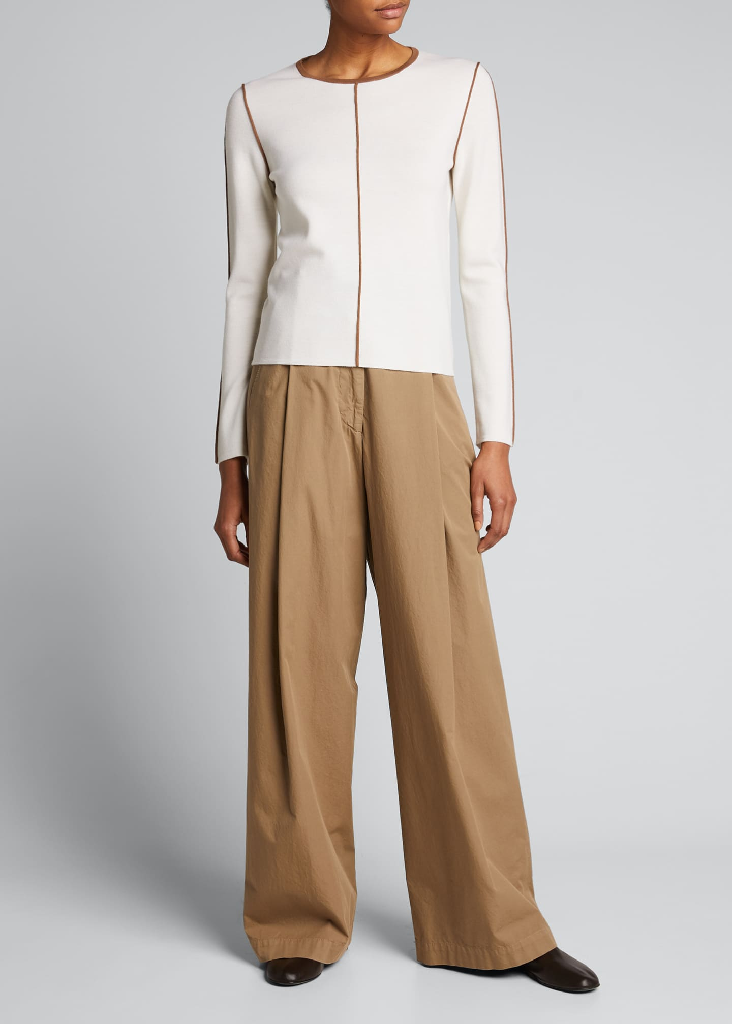 Image 1 of 5: Osteo Wool-Cashmere Sweater w/ Contrast Piping