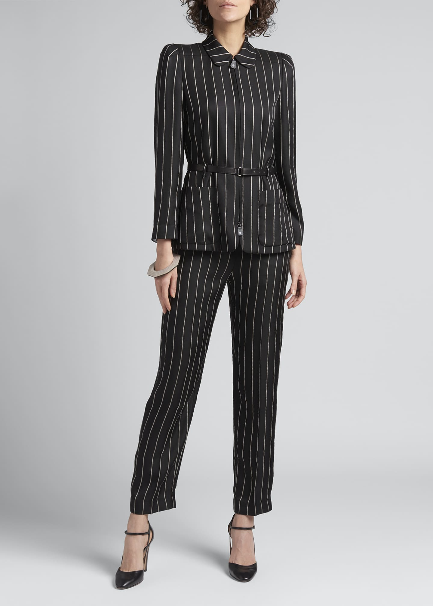 Image 1 of 4: Striped Straight-Leg Trousers