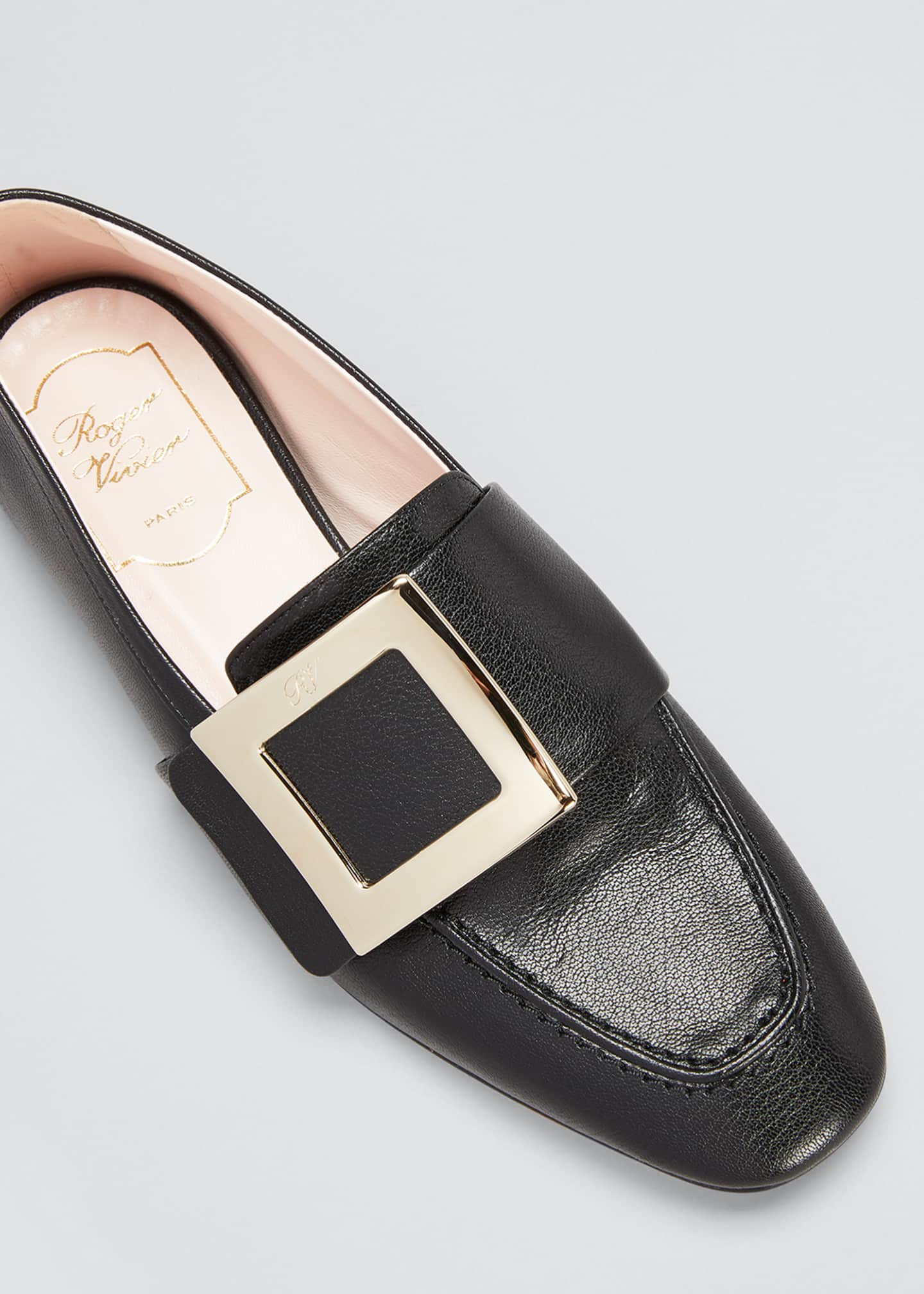Image 3 of 3: 10mm Leather Buckle Flat Loafers