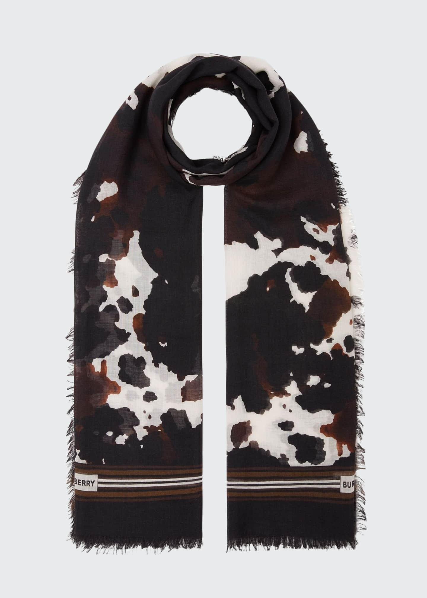 Image 1 of 5: Cow Camo Silk Gauze Scarf