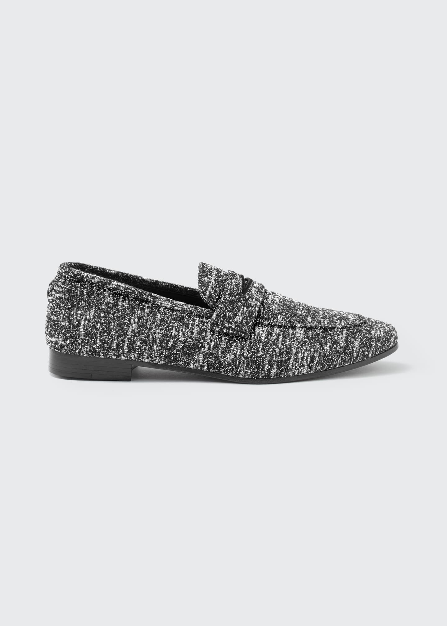 Image 1 of 4: Tweed Slip-On Penny Loafers