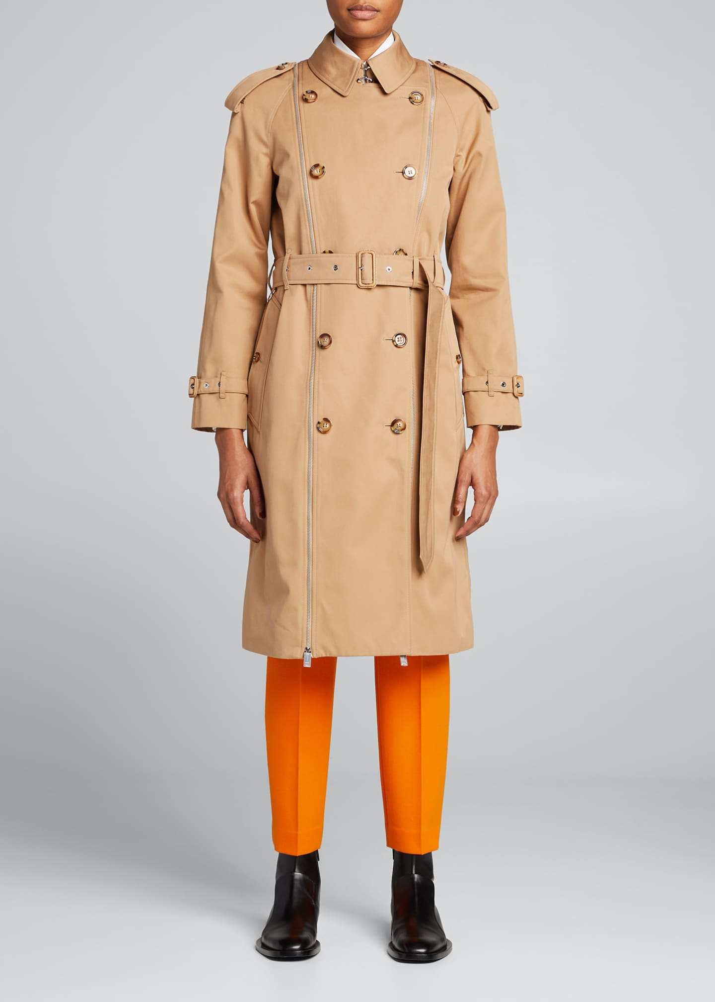 Image 1 of 5: Double-Breasted Zipper Trench Coat