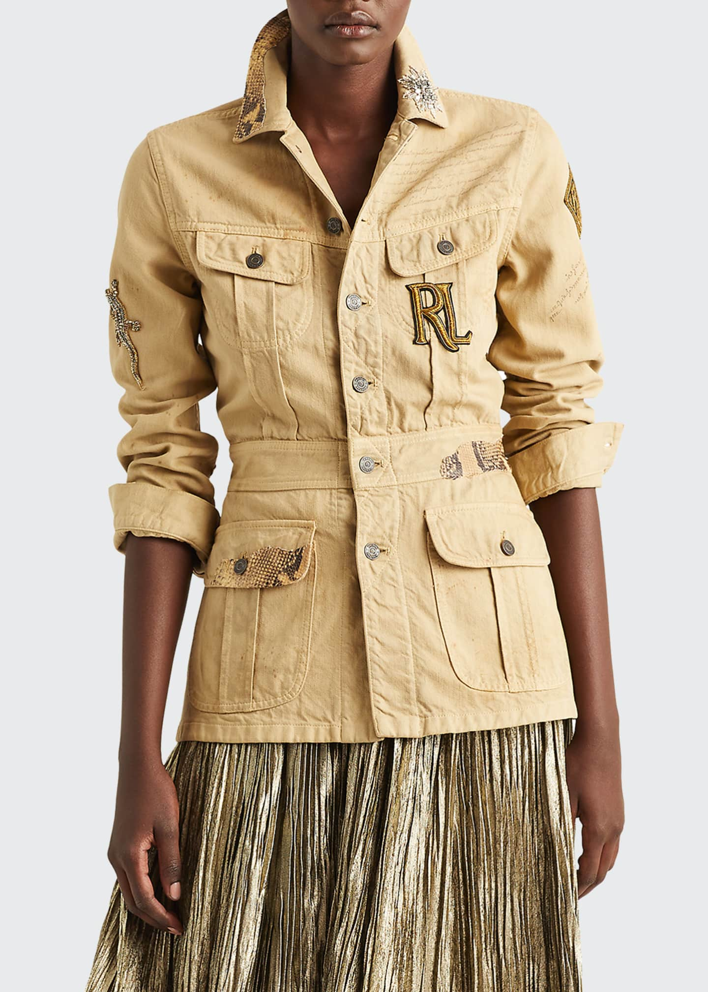 Image 1 of 3: Bacall Safari Jacket w/ Iconic Patch Applique