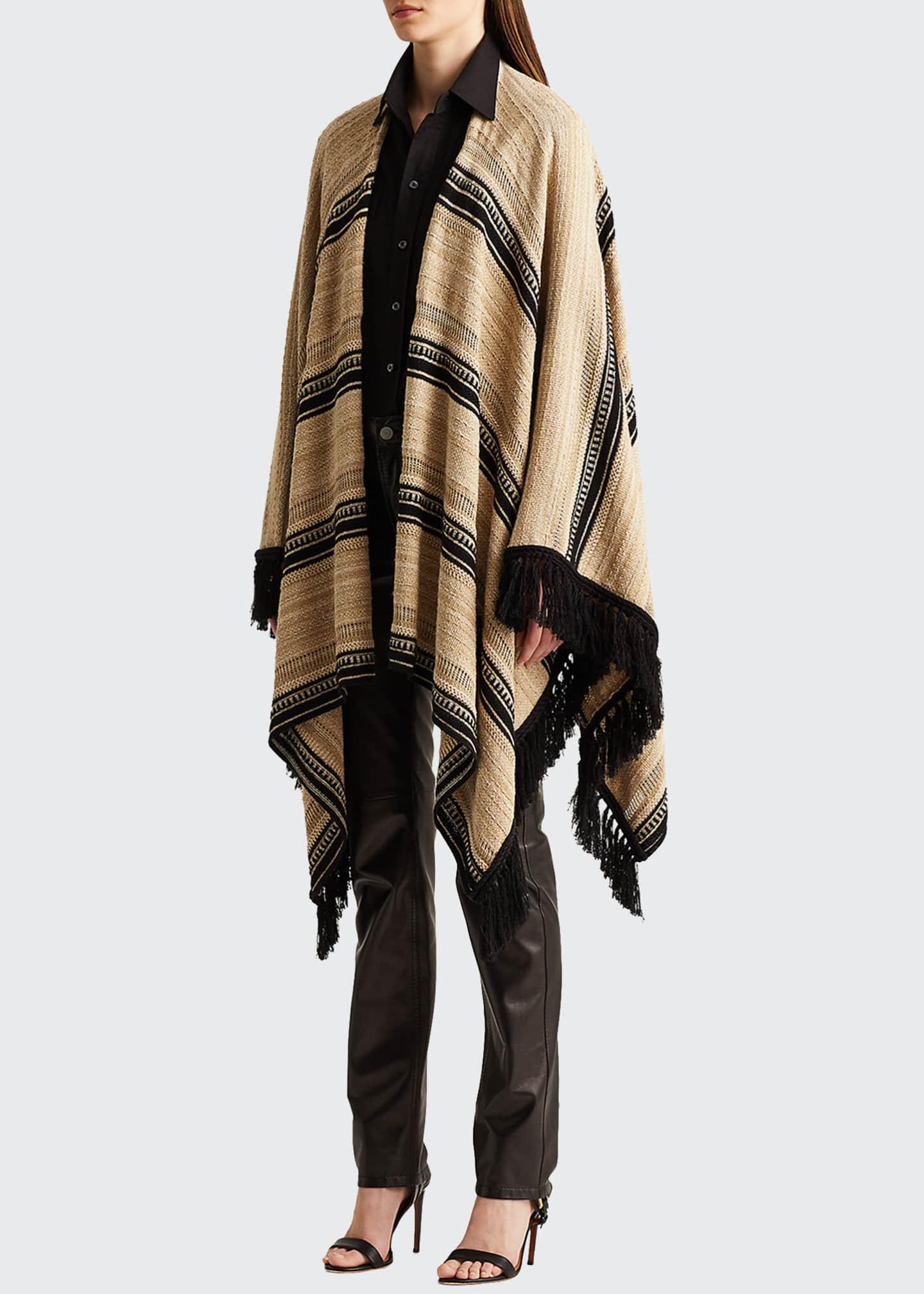 Image 1 of 2: Ruana Striped Sweater Cape