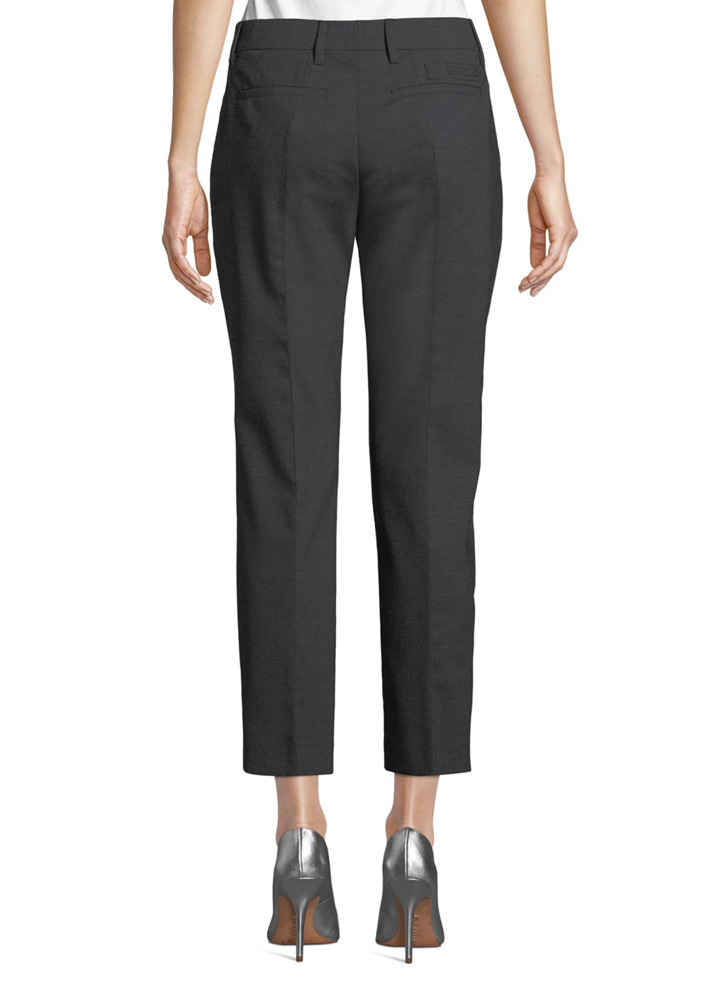 Image 2 of 3: Straight-Leg Cropped Stretch-Wool Pants