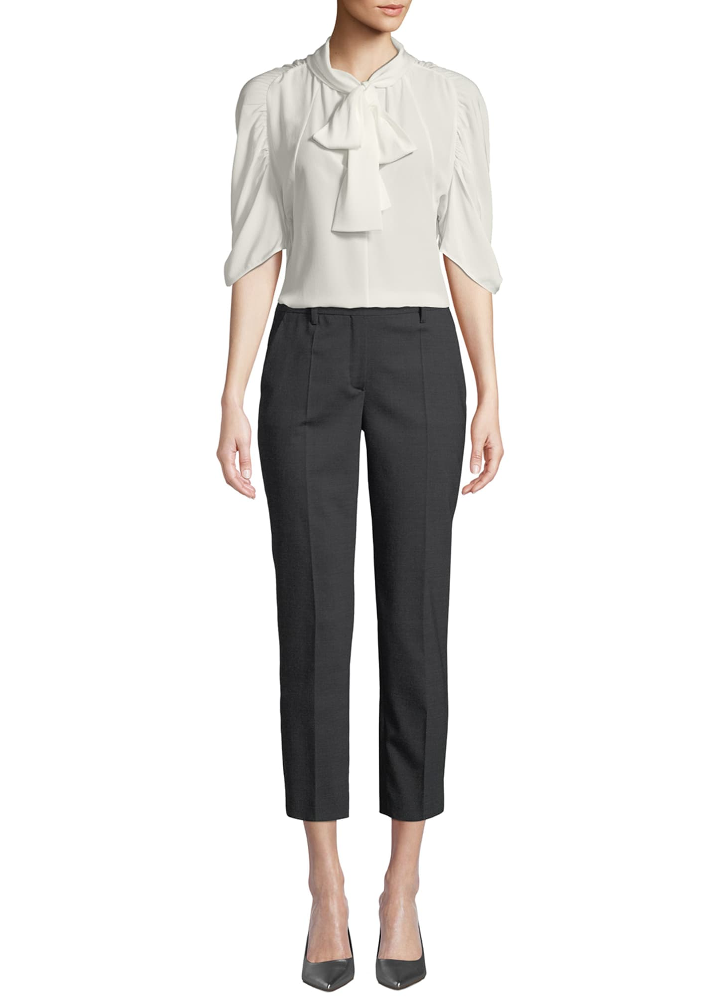Image 3 of 3: Straight-Leg Cropped Stretch-Wool Pants