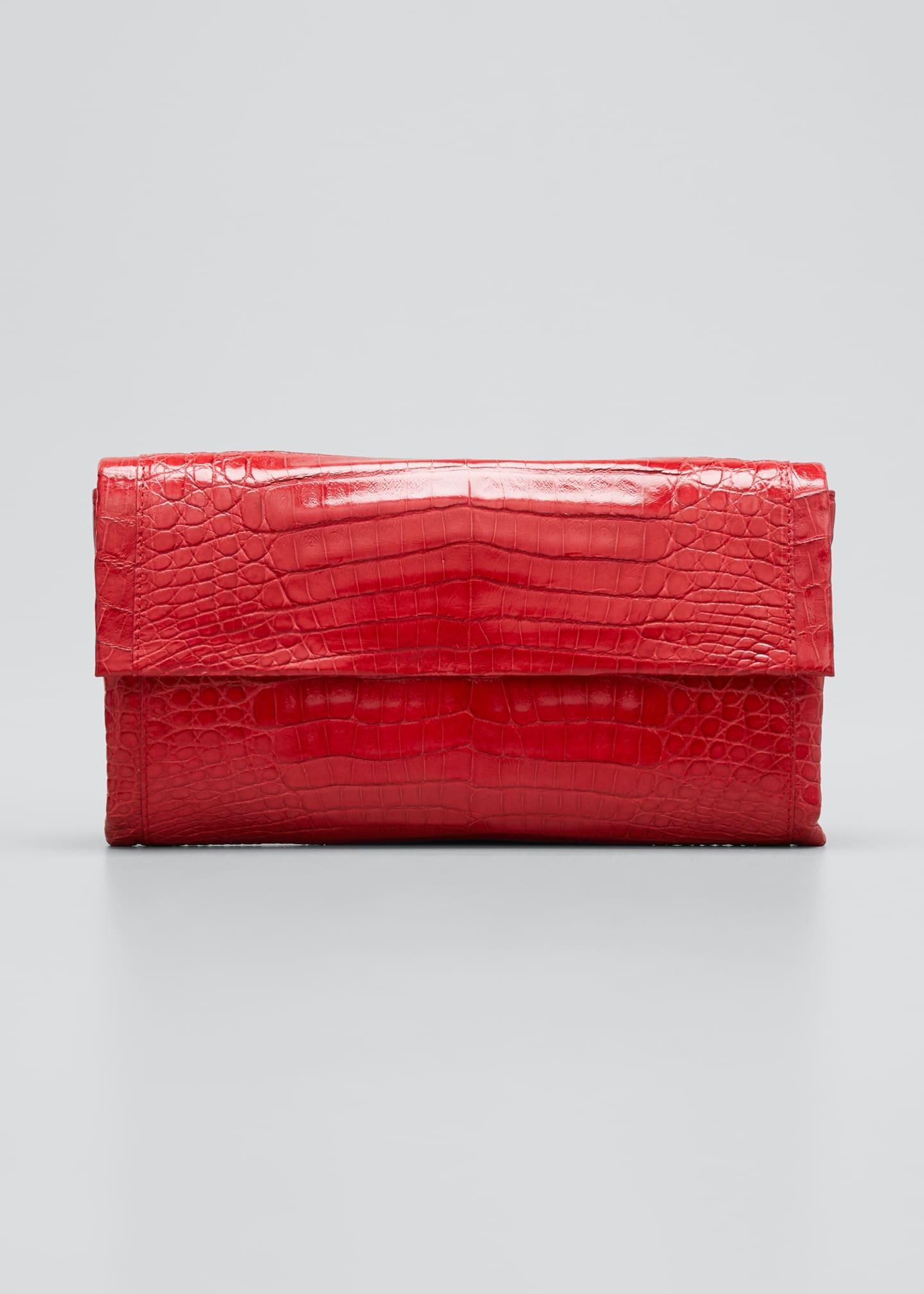 Nancy Gonzalez Simple Flap Crocodile Clutch Bag
