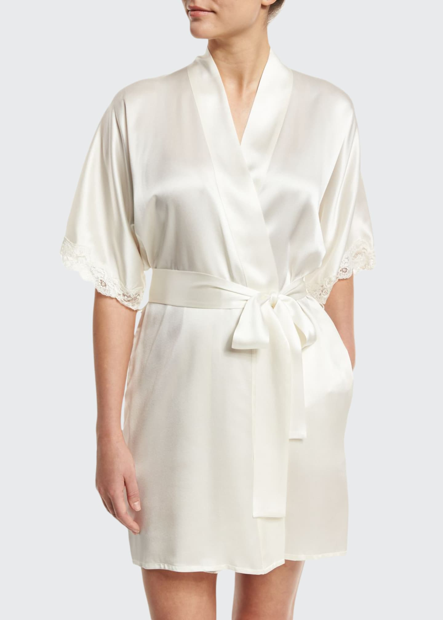 Image 1 of 2: Bijoux Short Silk Robe