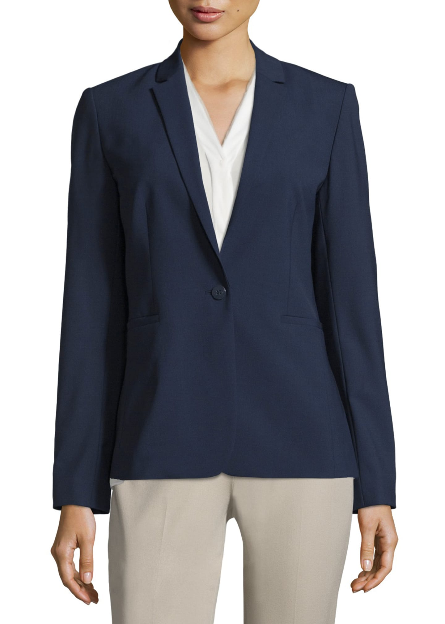 Image 3 of 3: Darcy One-Button Stretch-Wool Jacket