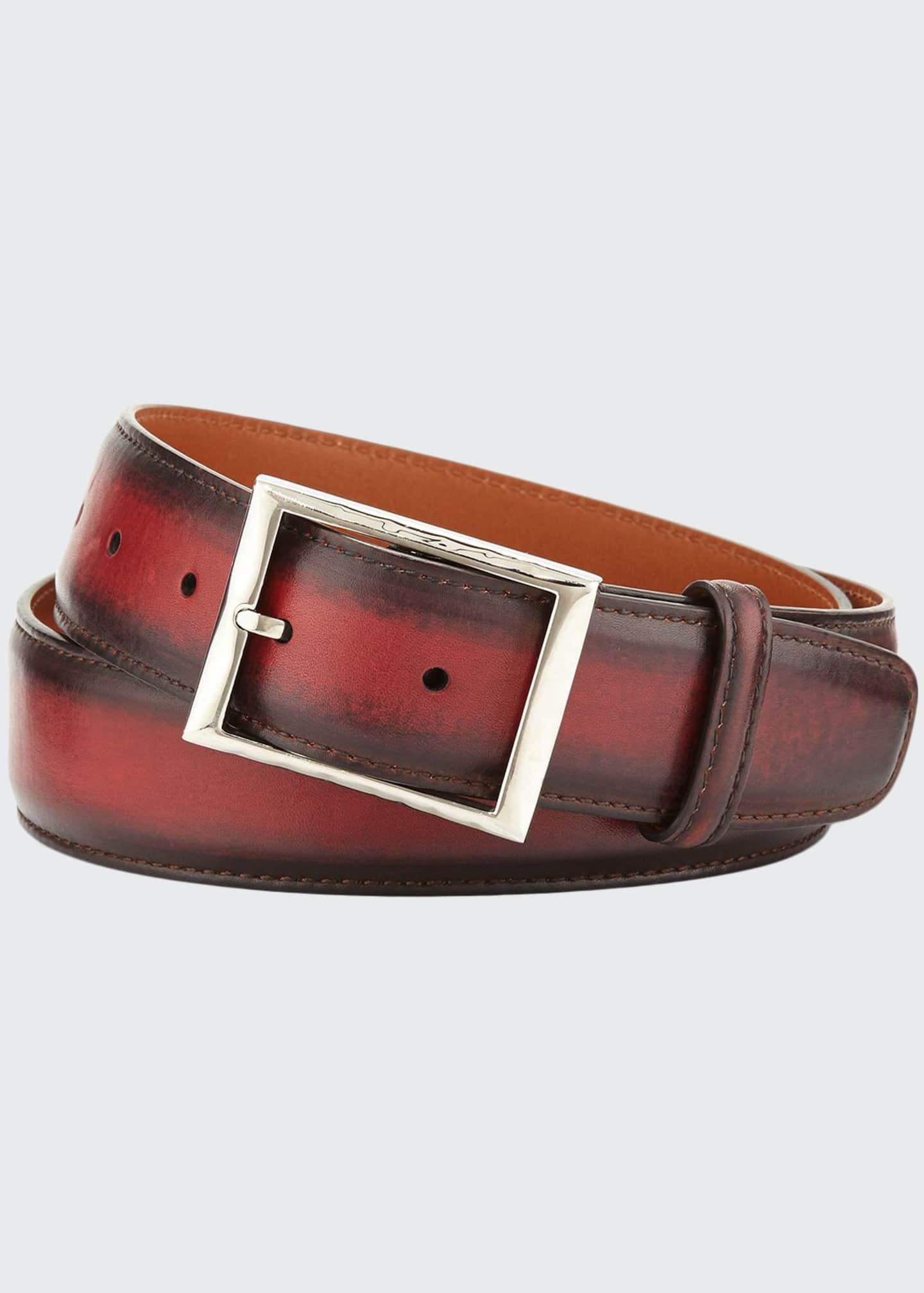 Berluti Venezia Leather Belt, Red