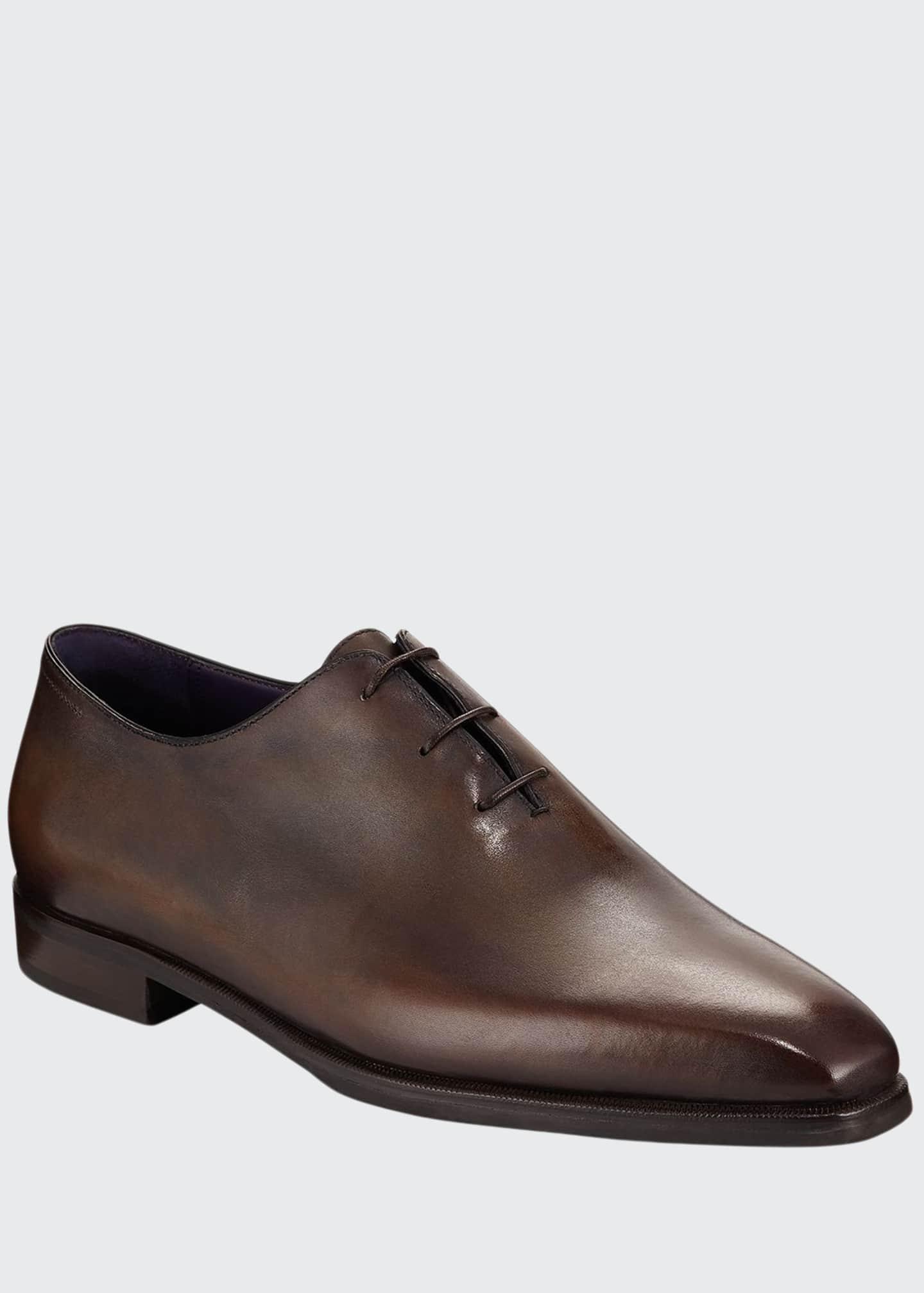 Berluti Alessandro Demesure Leather Oxfords with Leather Sole