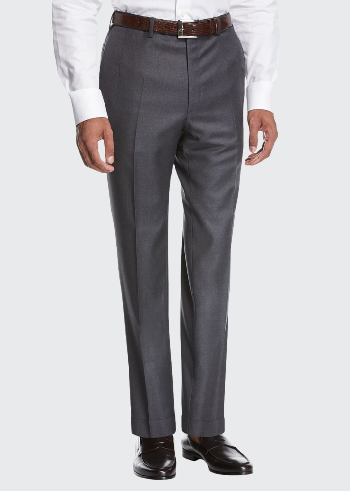 Brioni Wool Flat-Front Trousers, Gray