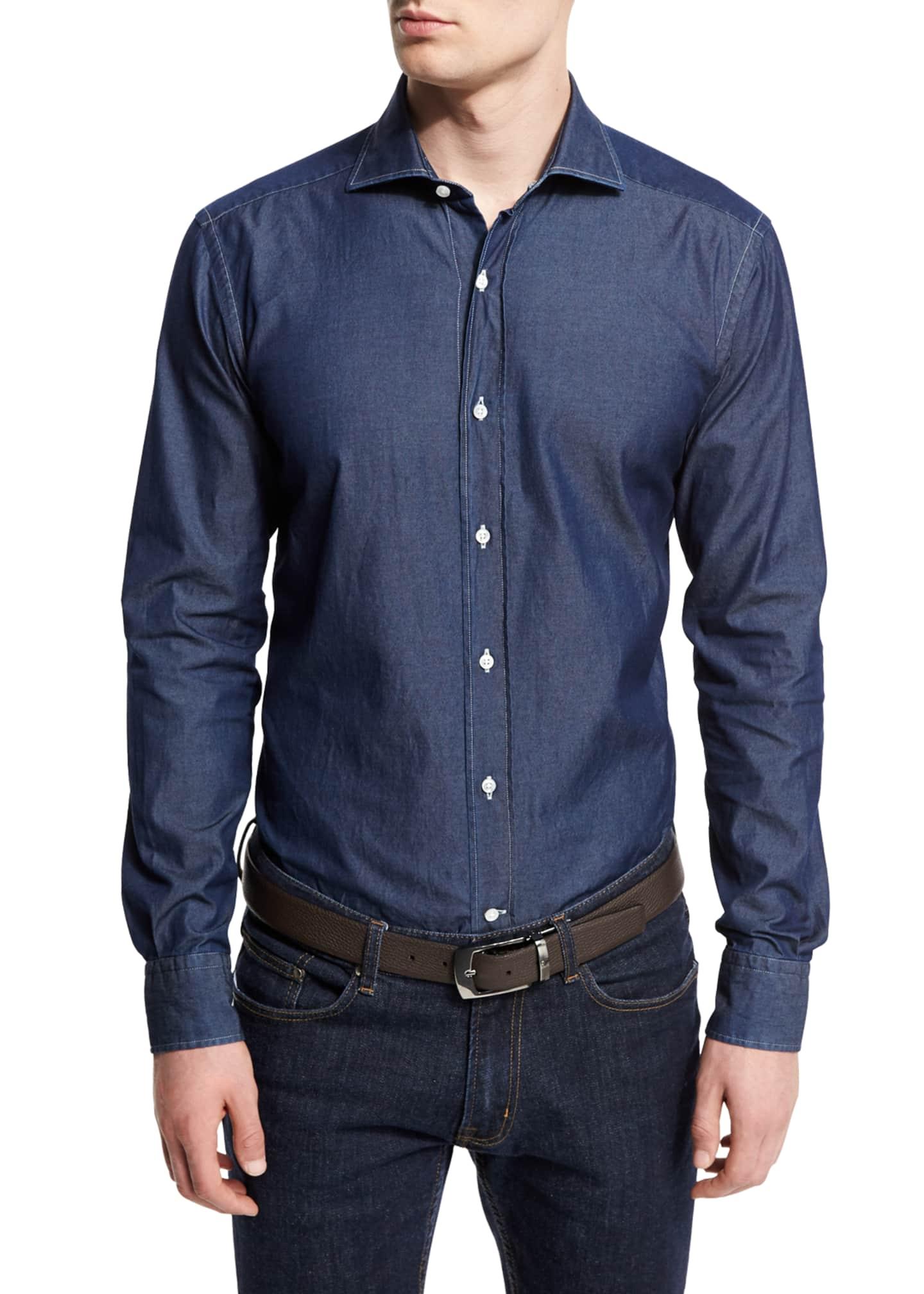 Goodman's Washed Denim Button-Down Shirt, Slate