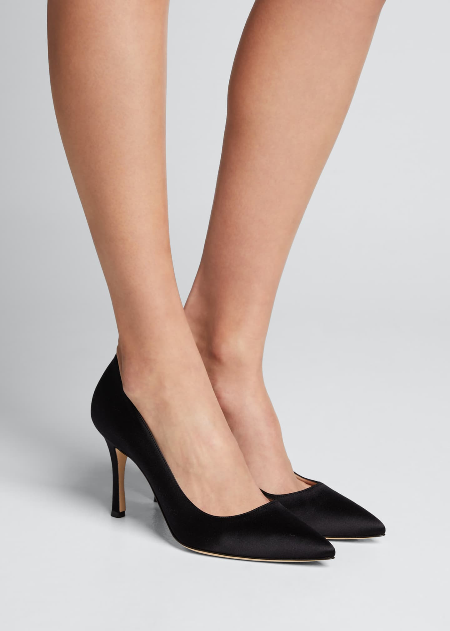 Image 2 of 5: Pointed-Toe Satin Pumps