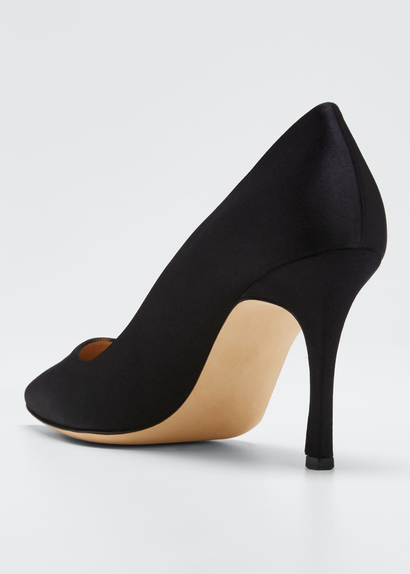 Image 4 of 5: Pointed-Toe Satin Pumps