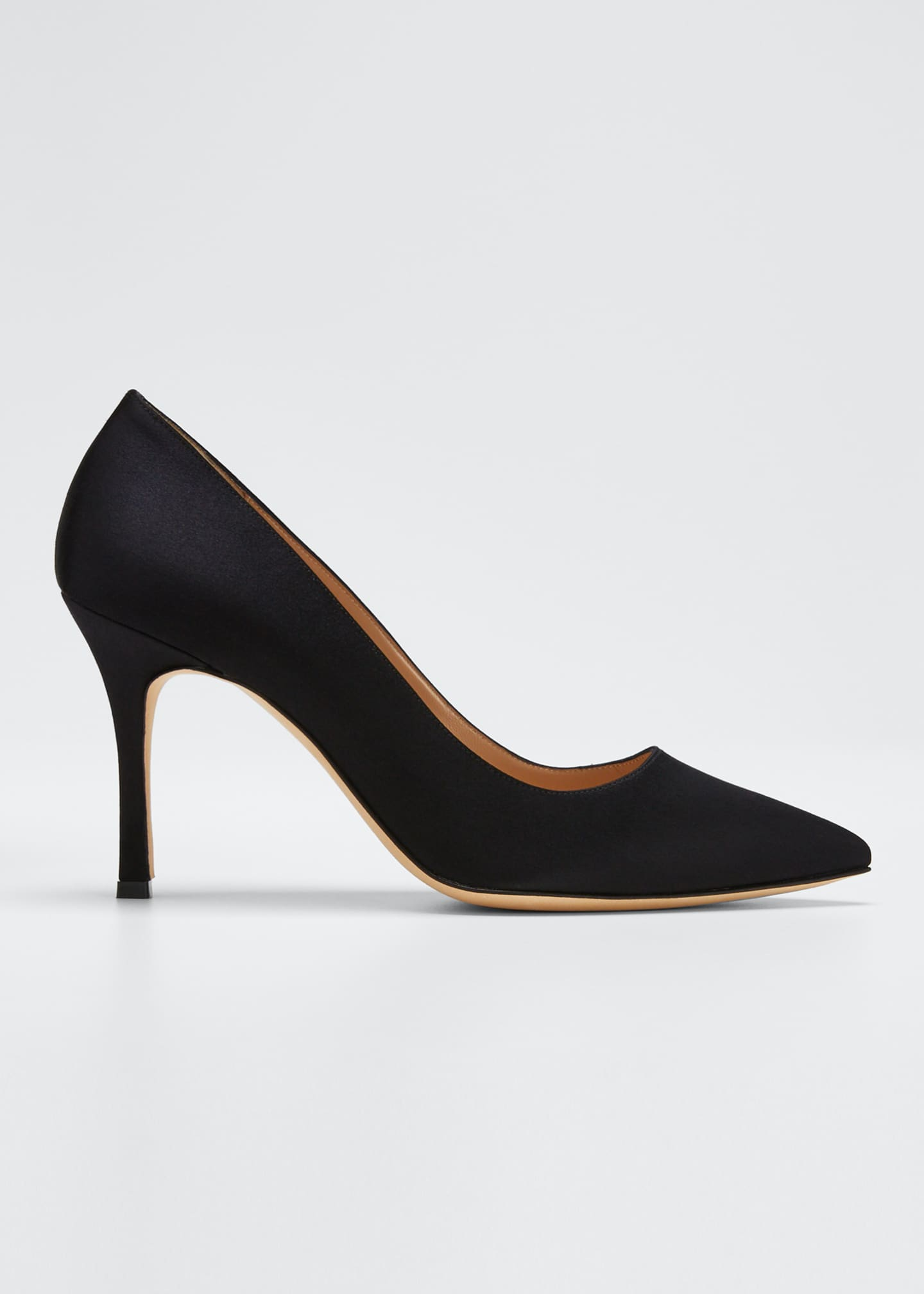 Image 1 of 5: Pointed-Toe Satin Pumps