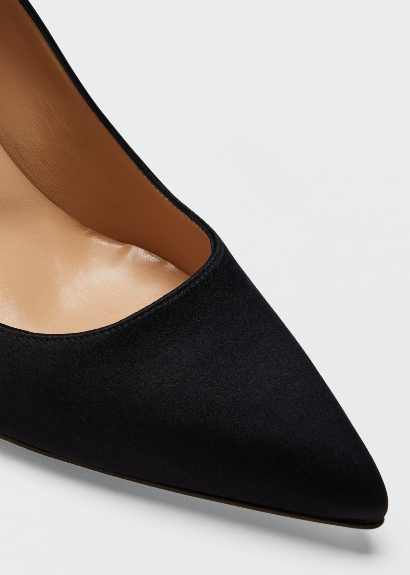 Image 5 of 5: Pointed-Toe Satin Pumps