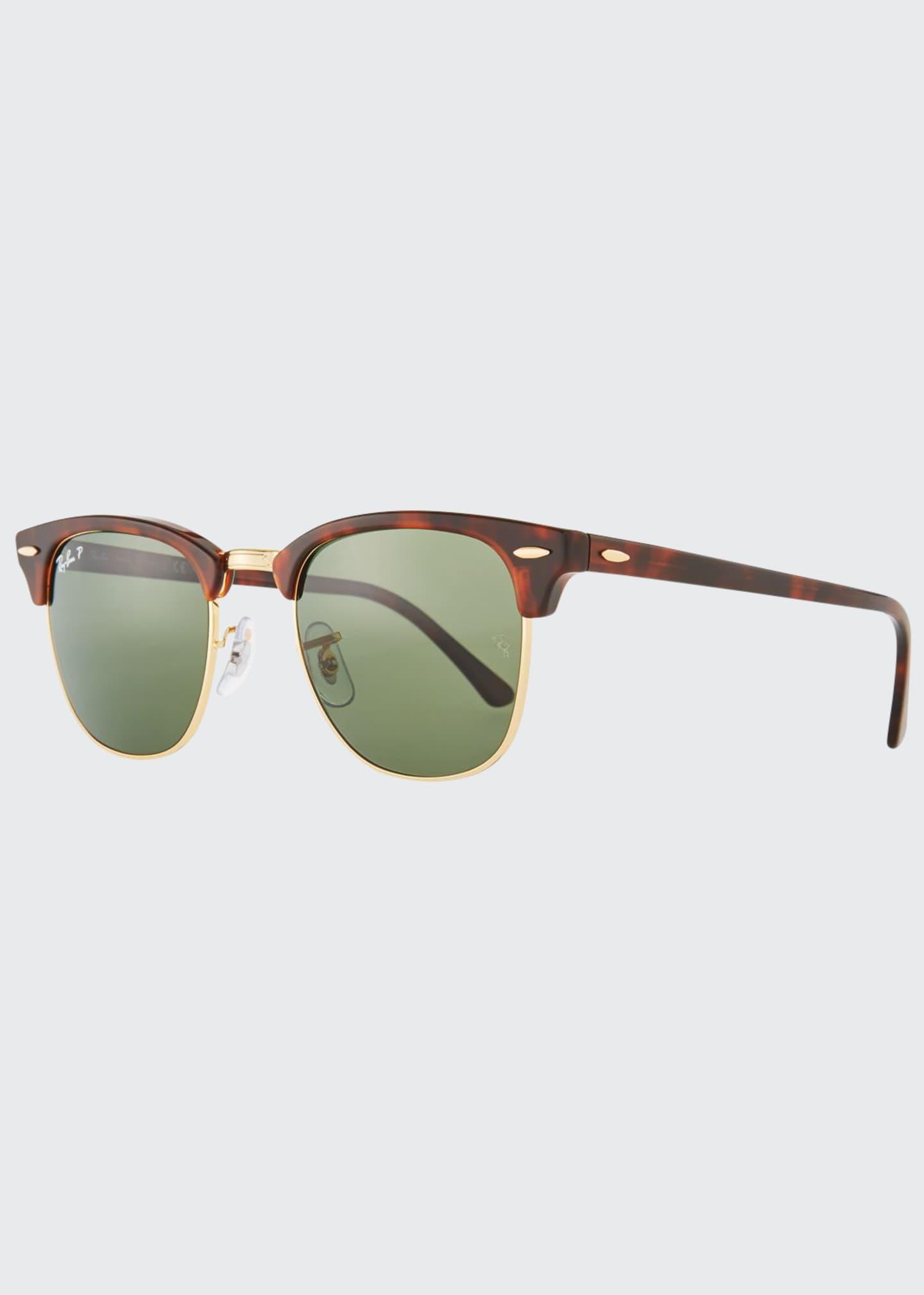 Ray-Ban Men's Classic Clubmaster Polarized Half-Rim Sunglasses