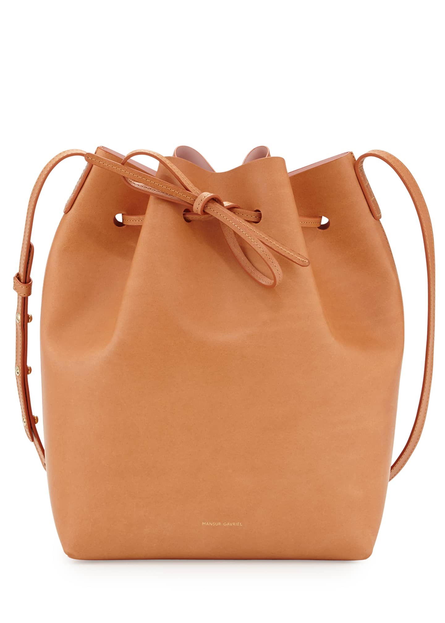 Image 2 of 3: Vegetable-Tanned Leather Bucket Bag
