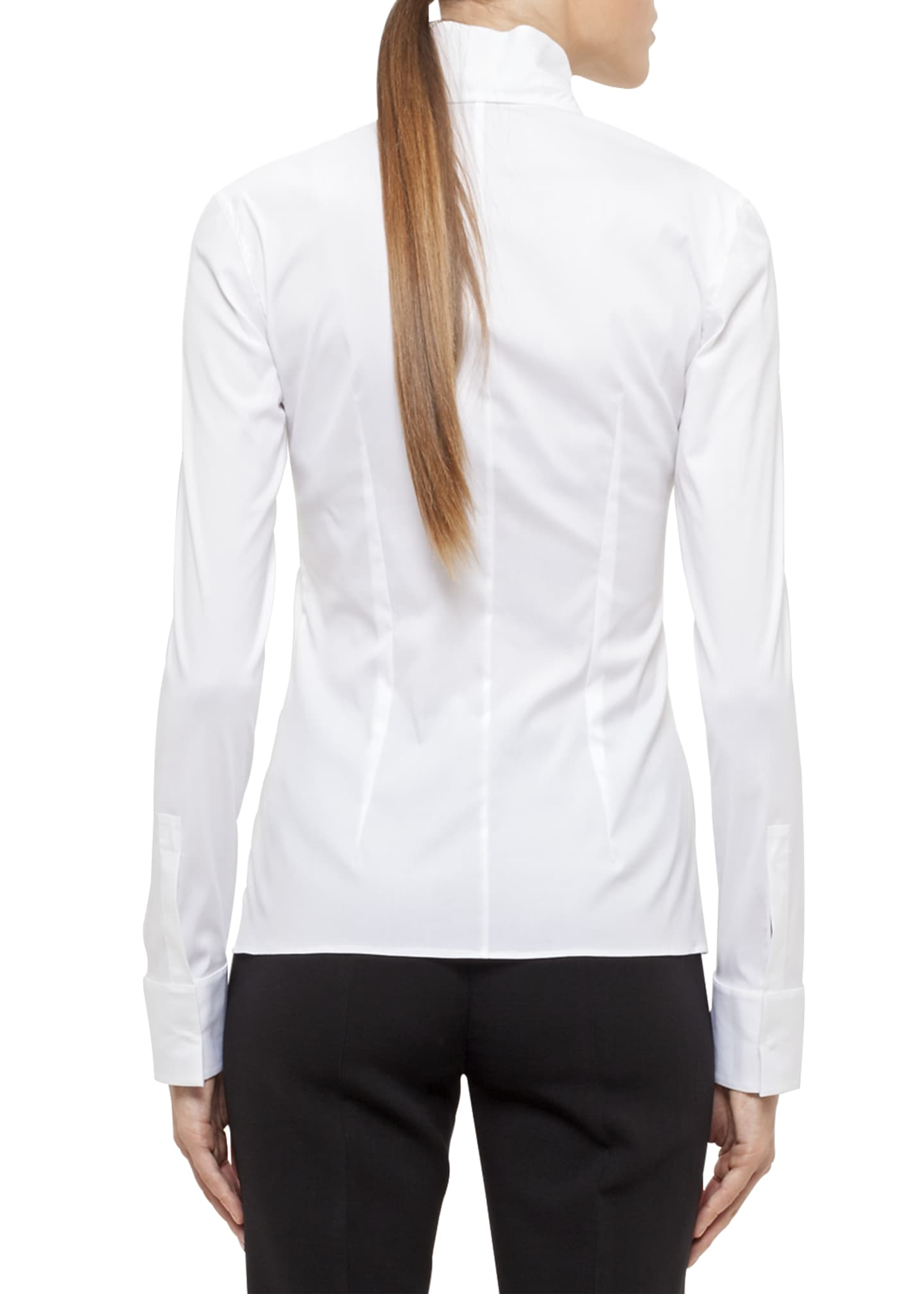 Image 2 of 3: Long-Sleeve Notched-Collar Poplin Blouse