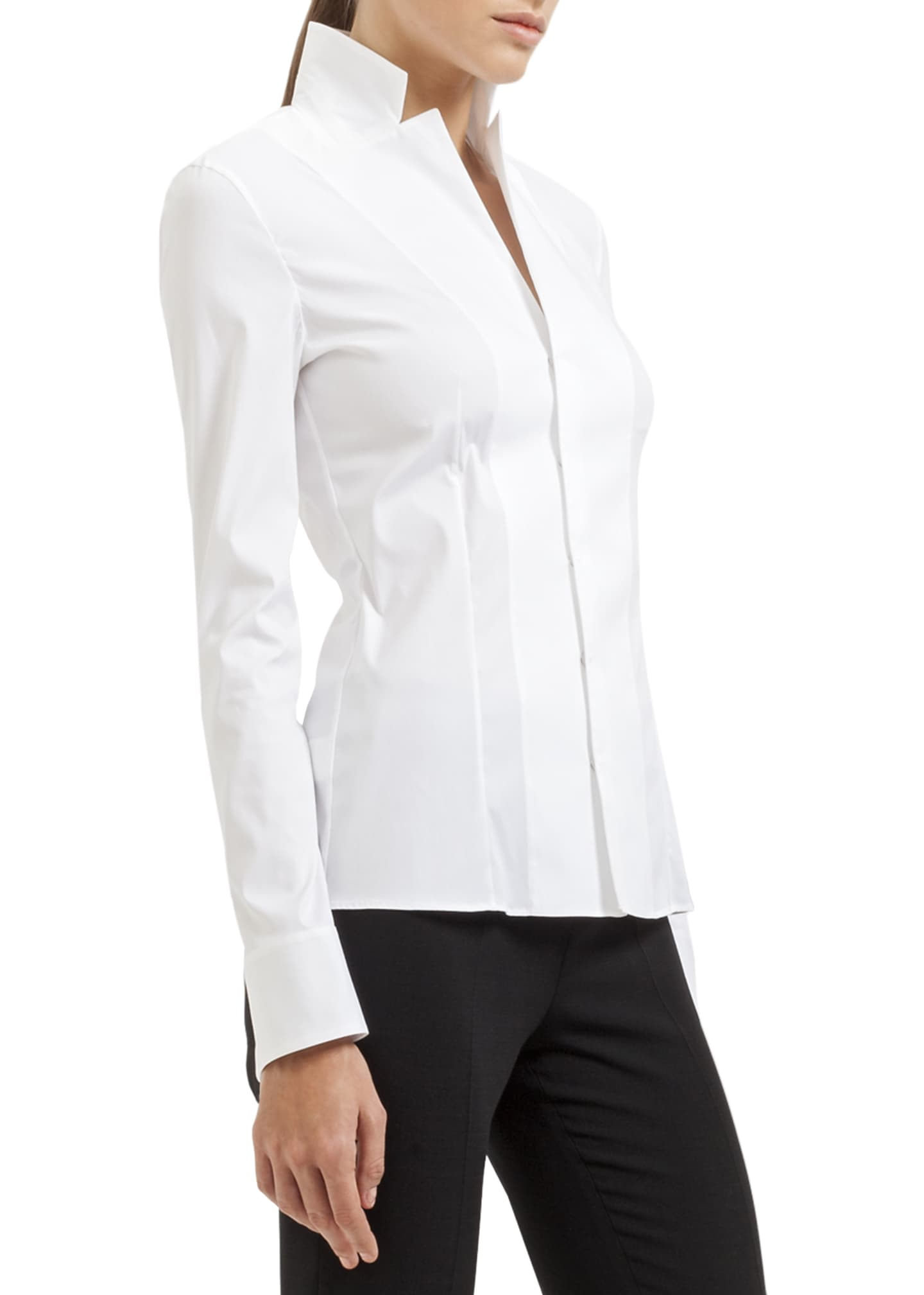 Image 3 of 3: Long-Sleeve Notched-Collar Poplin Blouse