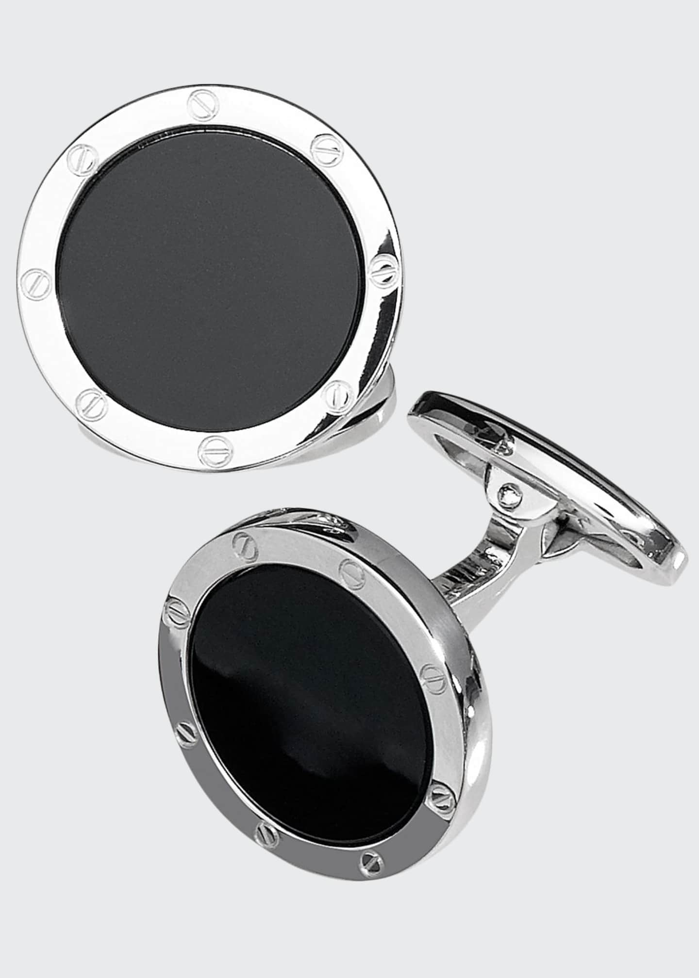 Image 1 of 1: Round Onyx Cuff Links