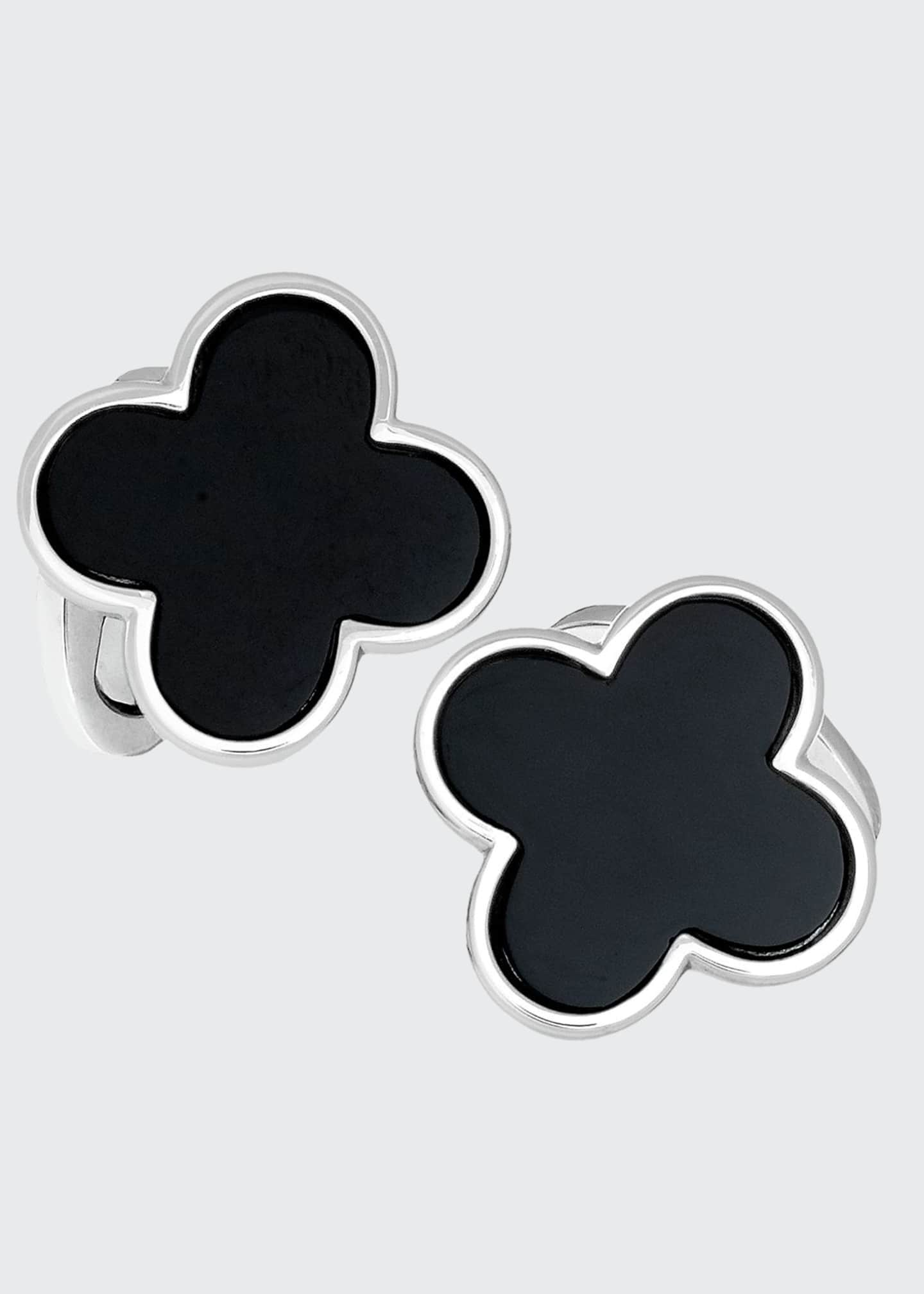 Image 1 of 1: Onyx Clover Cuff Links