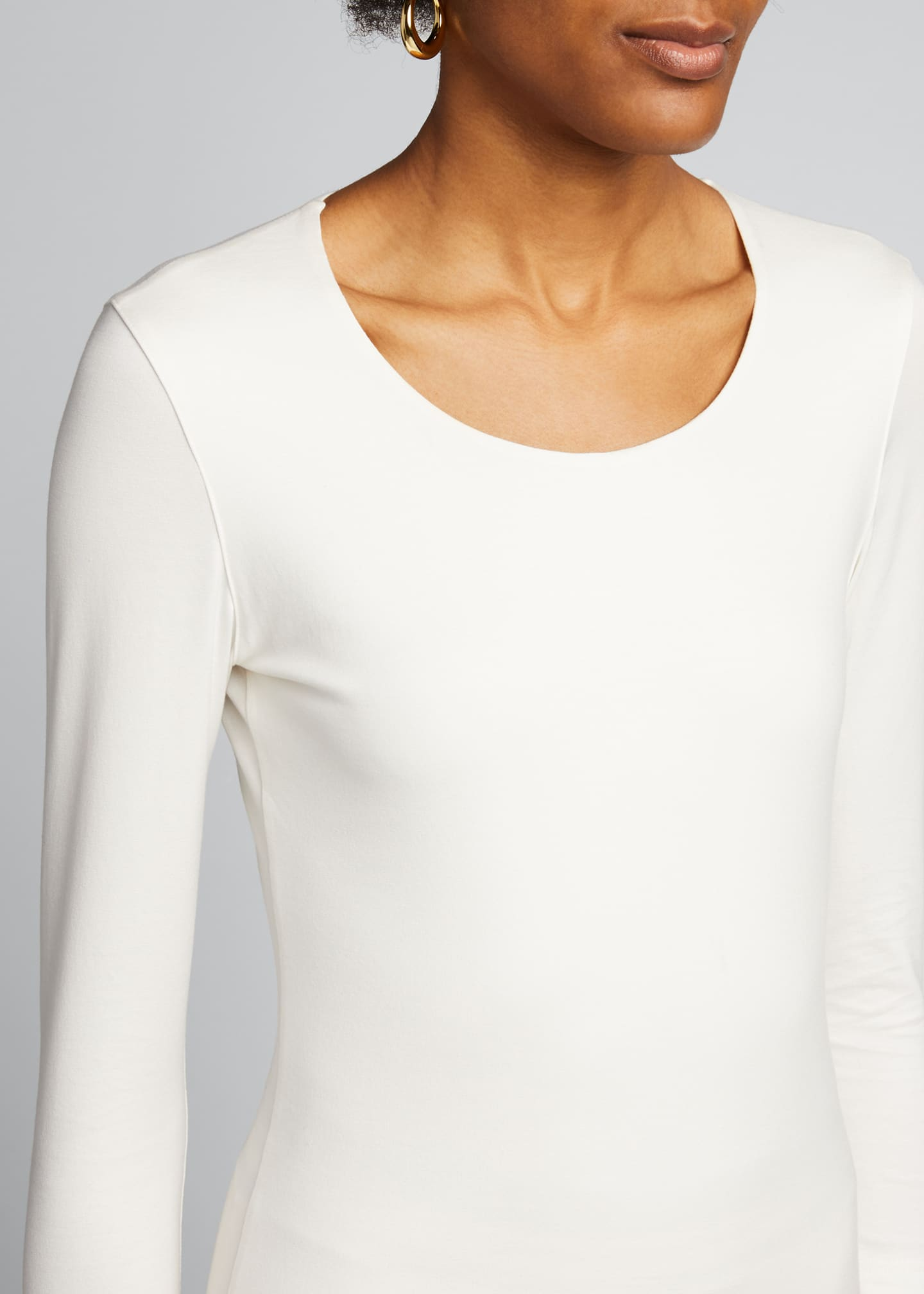 Image 4 of 5: Fitted 3/4-Sleeve Stretch-Jersey Top