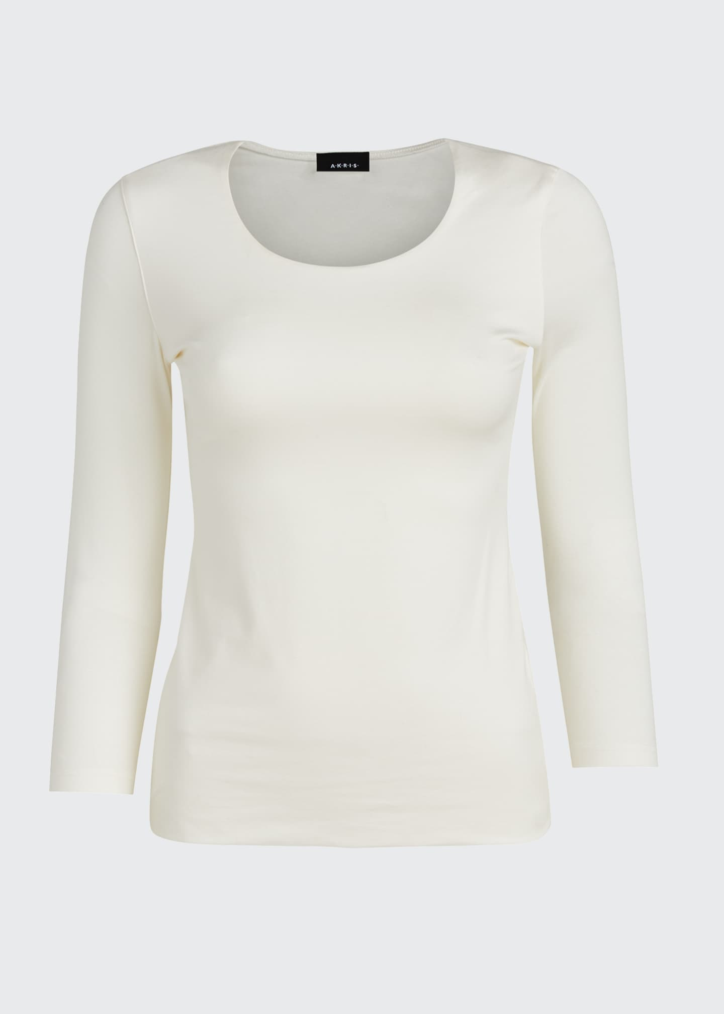 Image 5 of 5: Fitted 3/4-Sleeve Stretch-Jersey Top