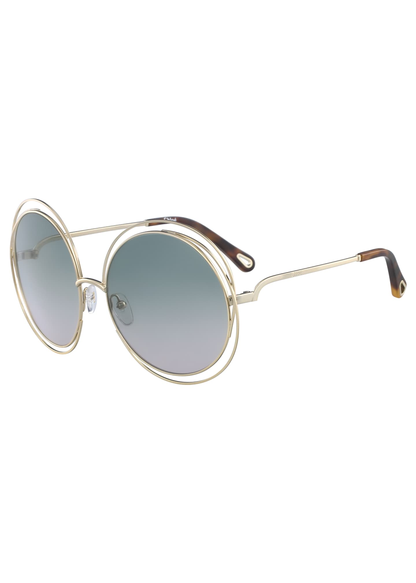 Chloe Carlina Round Wire Metal Sunglasses, Golden/Peach